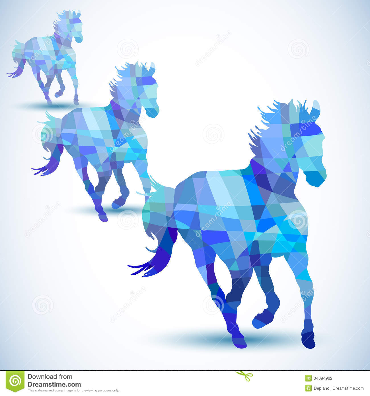 Blue Abstract Horse Geometric Shapes File Eps Format Congratulations Images Stock Photos Vectors