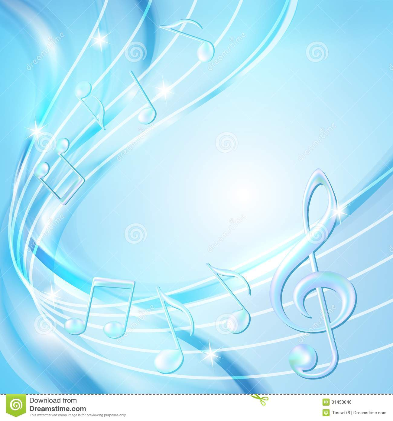 Musical notes staff background on white vector by tassel78 image - Abstract Background Blue Illustration Music Notes