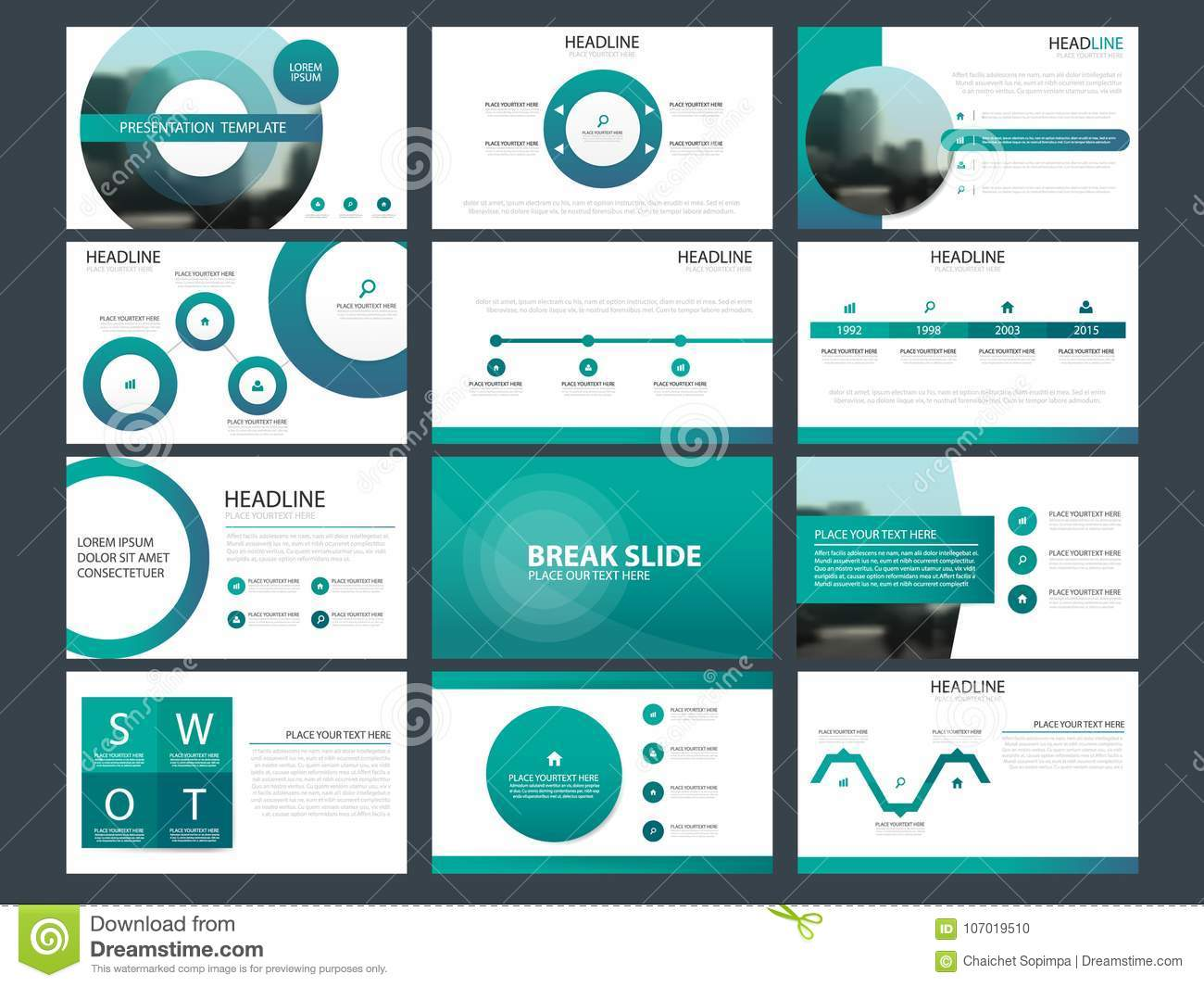 Blue Abstract presentation templates, Infographic elements template flat design set for annual report brochure flyer leaflet