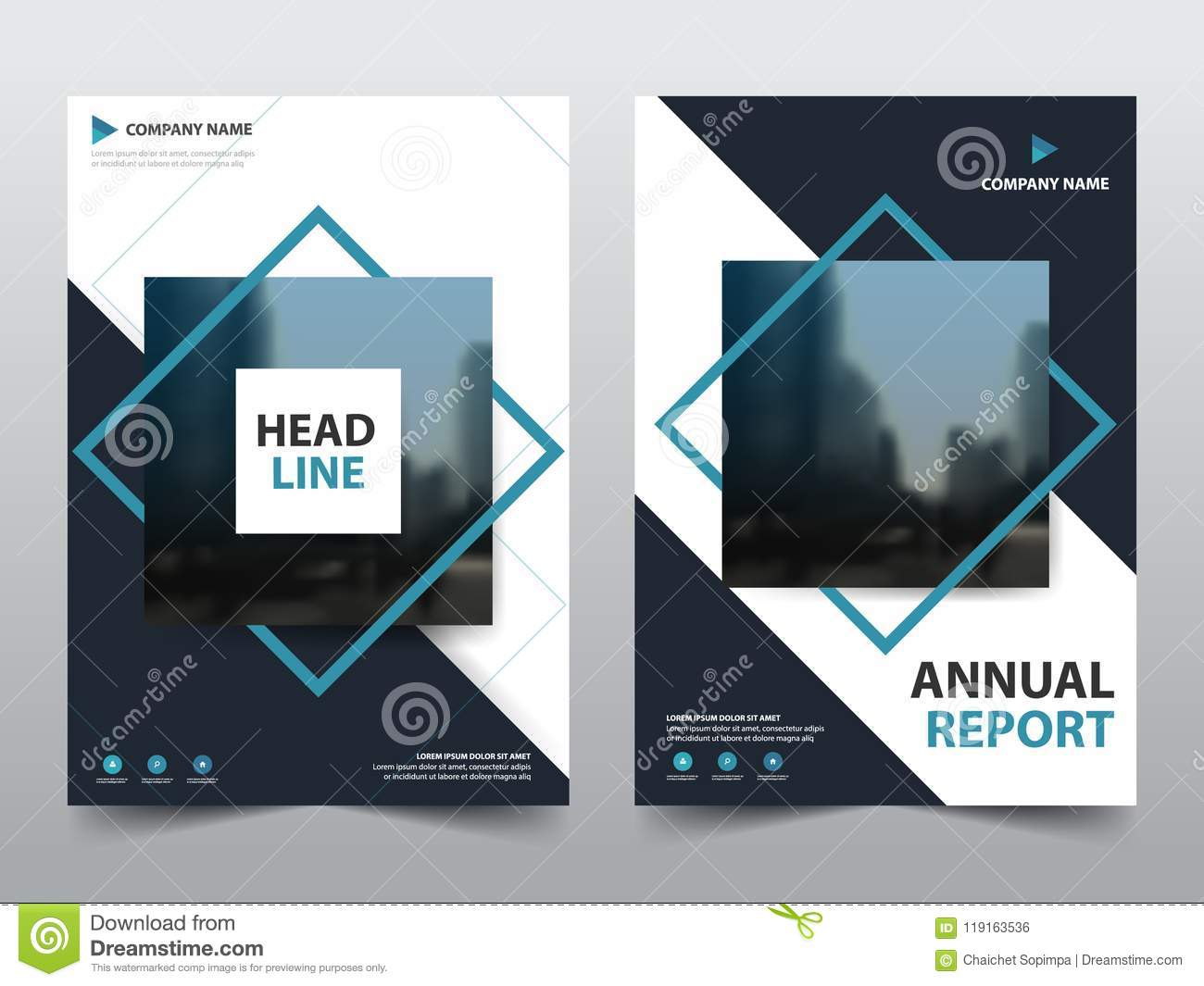 Blue abstract square annual report Brochure design template vector. Business Flyers infographic magazine poster.Abstract layout