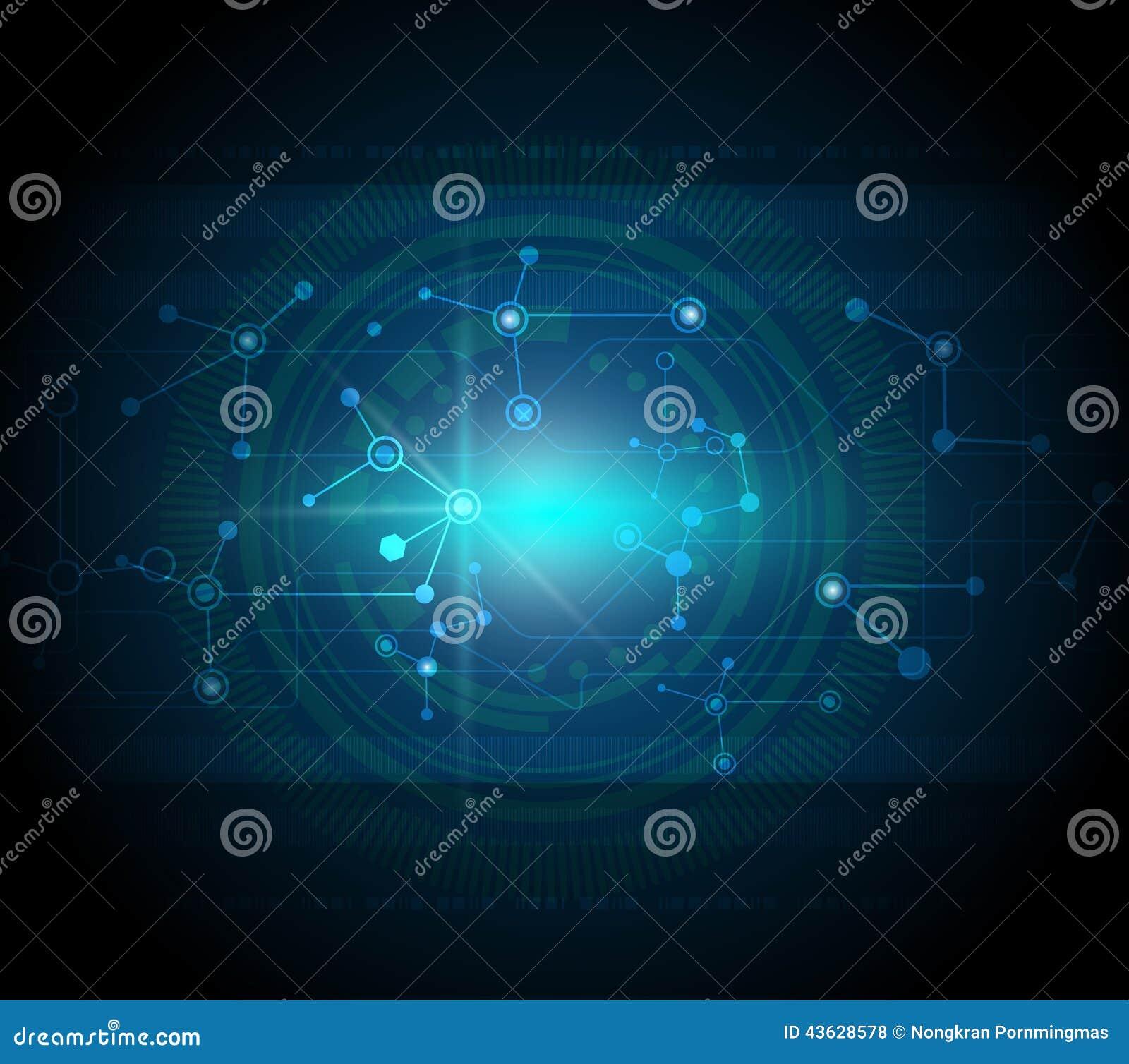Blue Technology: Blue Abstract Technology Hi-tech Background Stock Vector