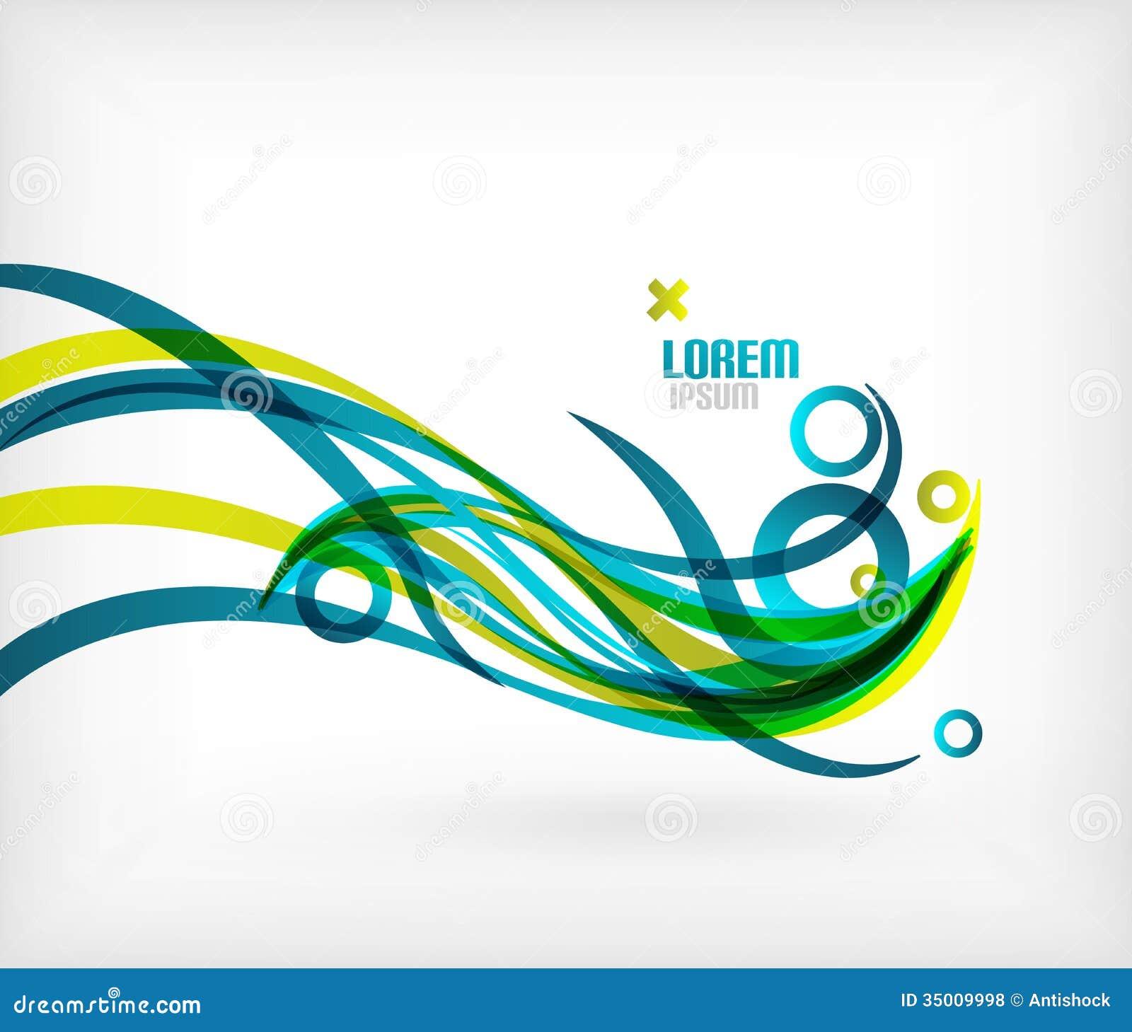 Designer Lines : Blue abstract wave lines minimal design stock vector