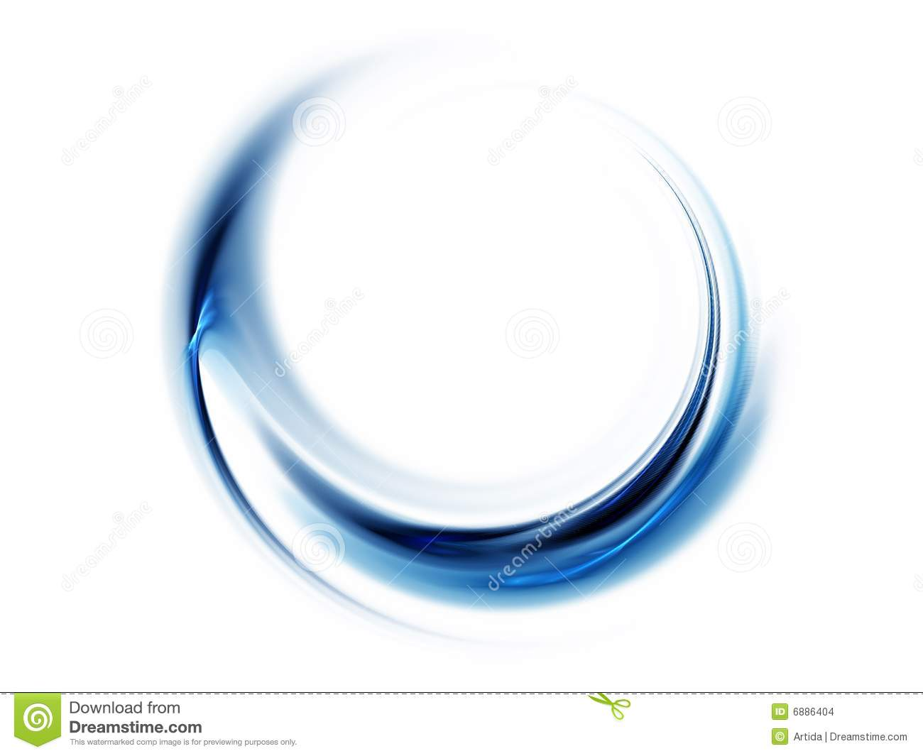 Blue Abstract Wavy Lines On White Background Stock
