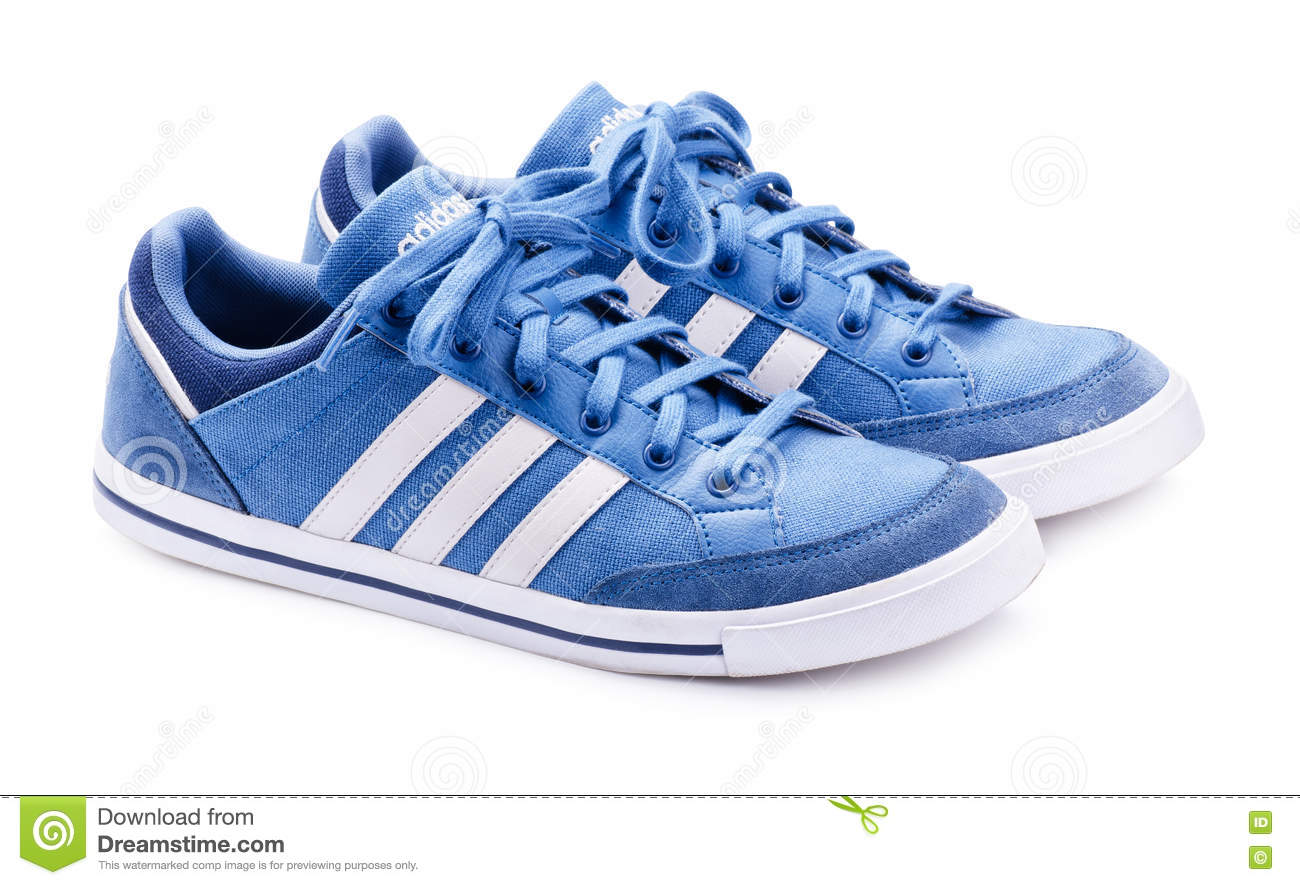 Blue Adidas Neo Sneakers For Running Editorial Photo - Image of ...
