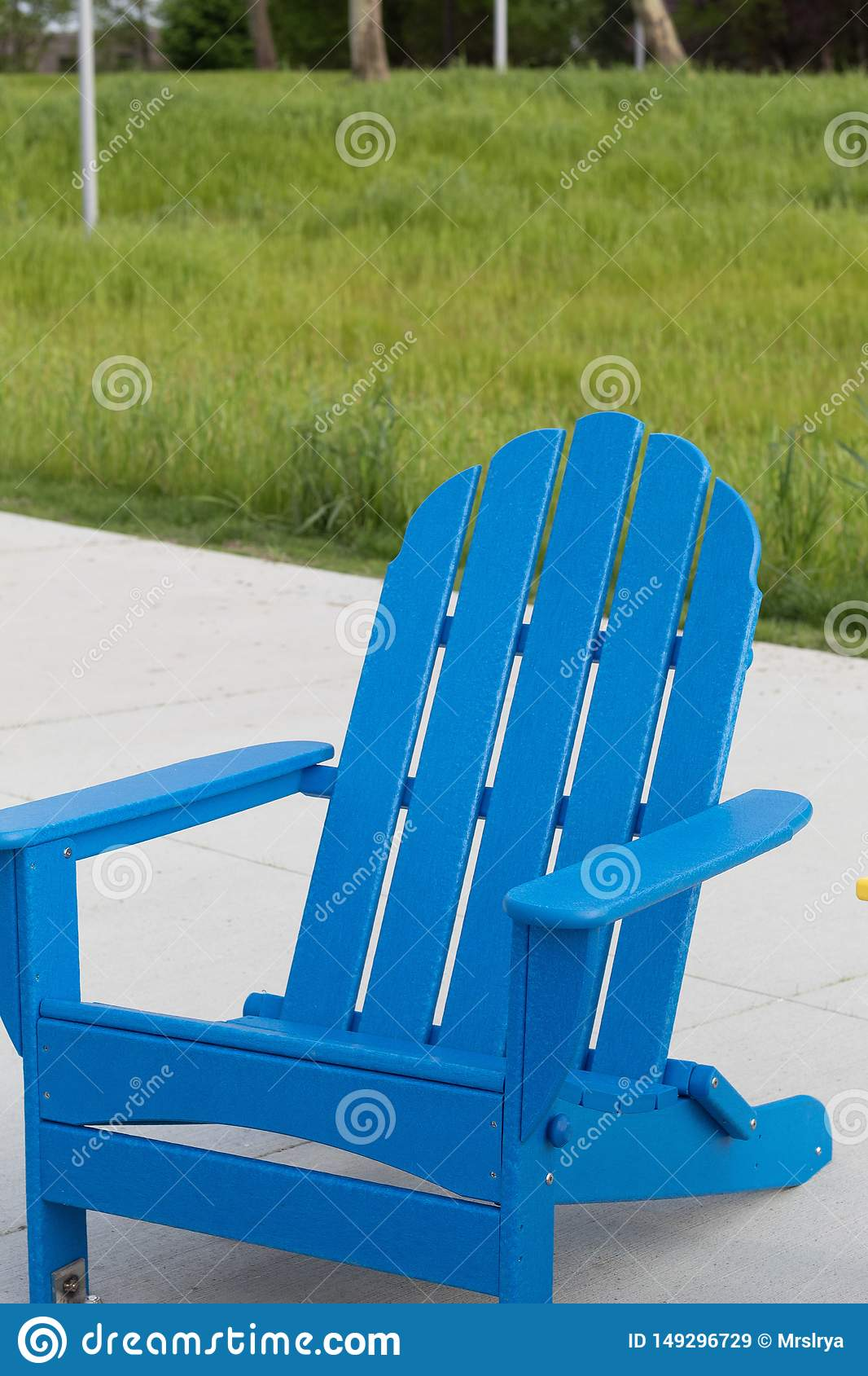 Blue Adirondack Chair At The Euclid Beach In Cleveland Ohio