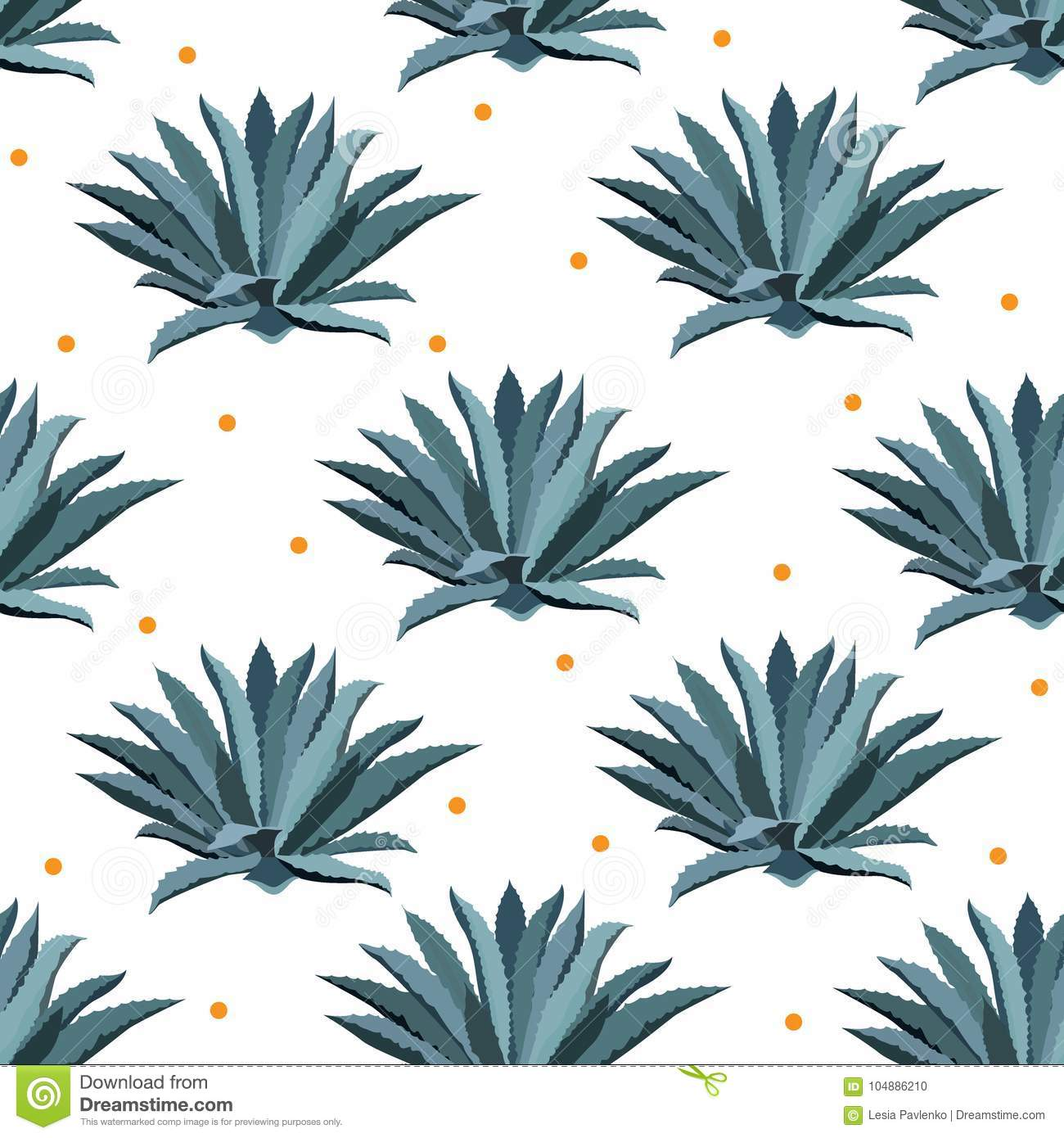 Blue agave vector seamless pattern. Background for tequila packs, superfood with agave syrop, and other. Succulent