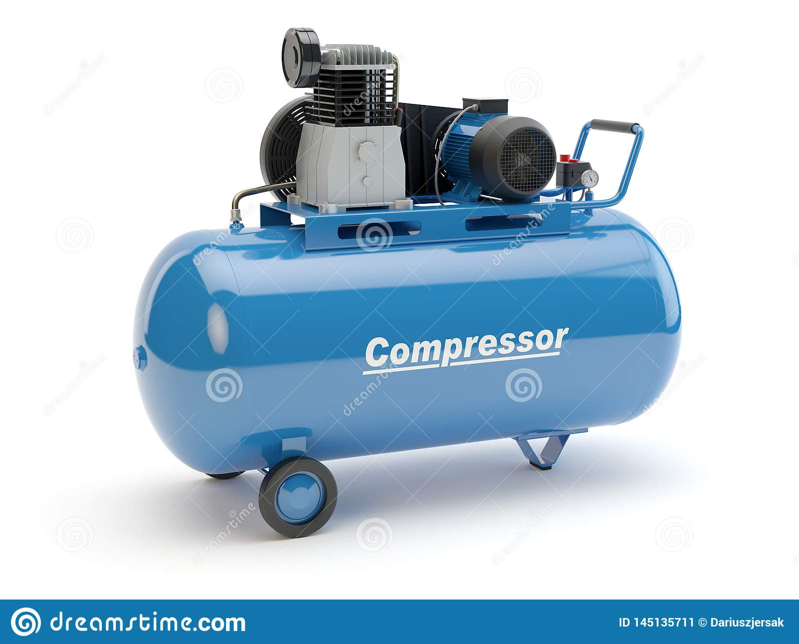 Blue Air-Kompressor, Illustration 3D