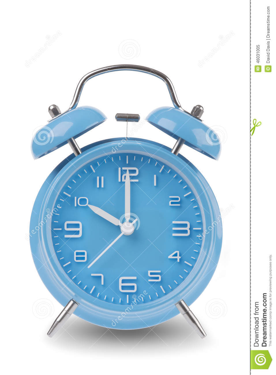 blue alarm clock with the hands at 10 am or pm isolated on a white background stock image. Black Bedroom Furniture Sets. Home Design Ideas