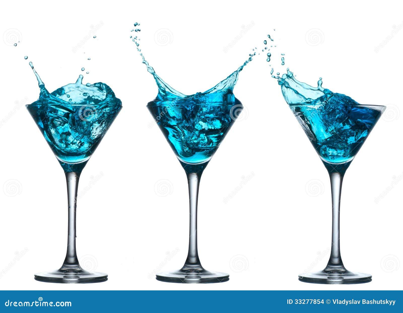 Blue Alcohol Cocktail Set With Splash On White Stock Photo