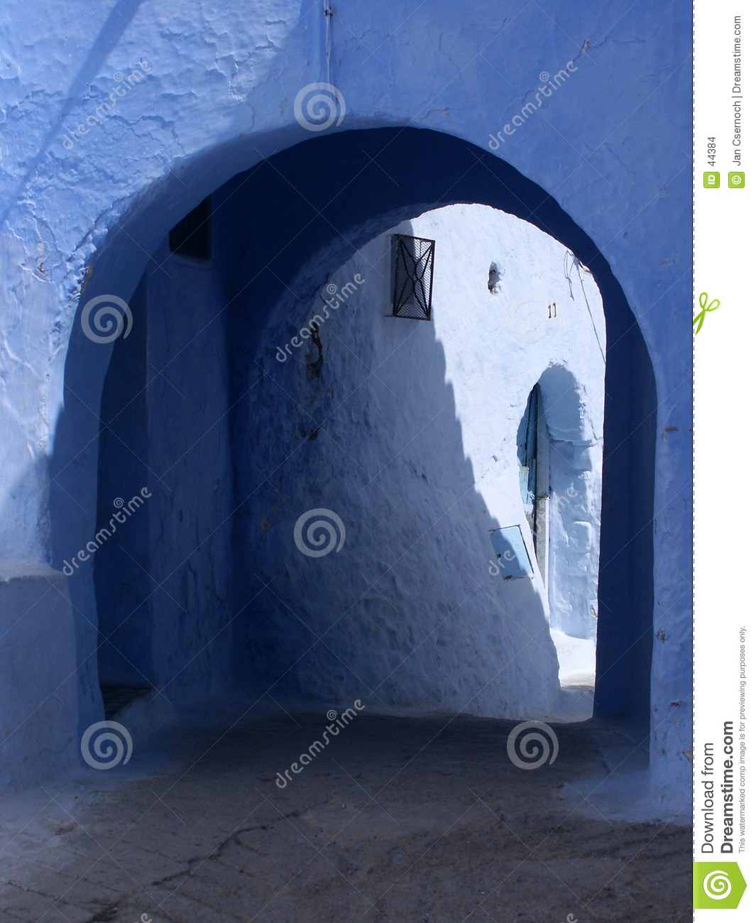 Blue alley with passage