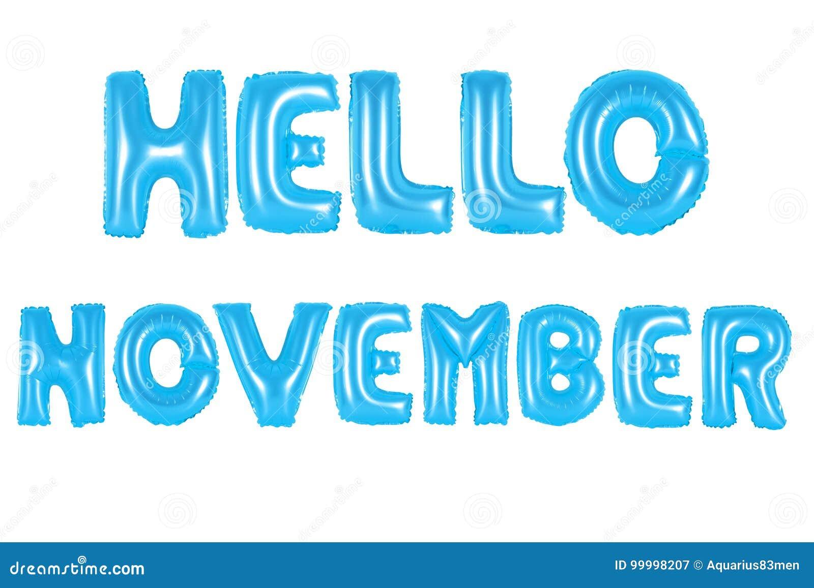 Hello november, blue color stock image. Image of education - 99998207