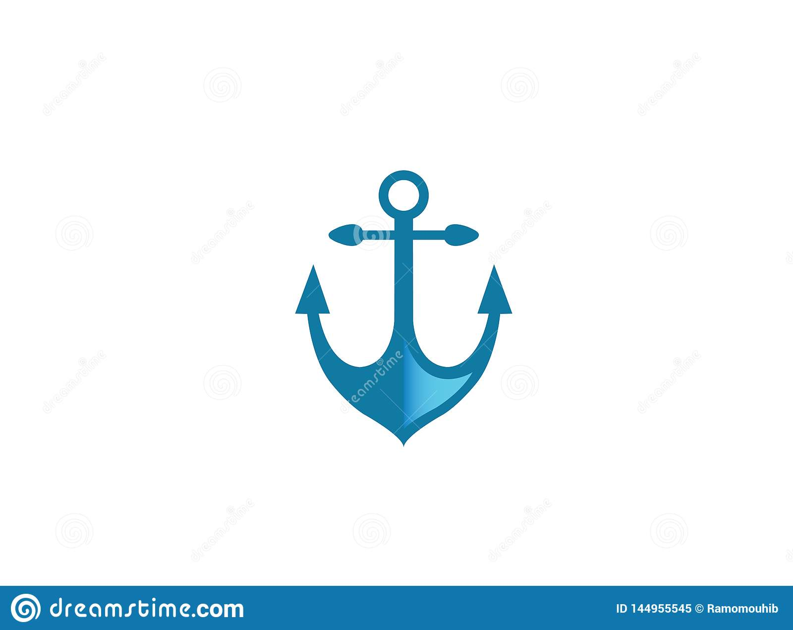 Blue anchor for boat and yacht for logo design illustration