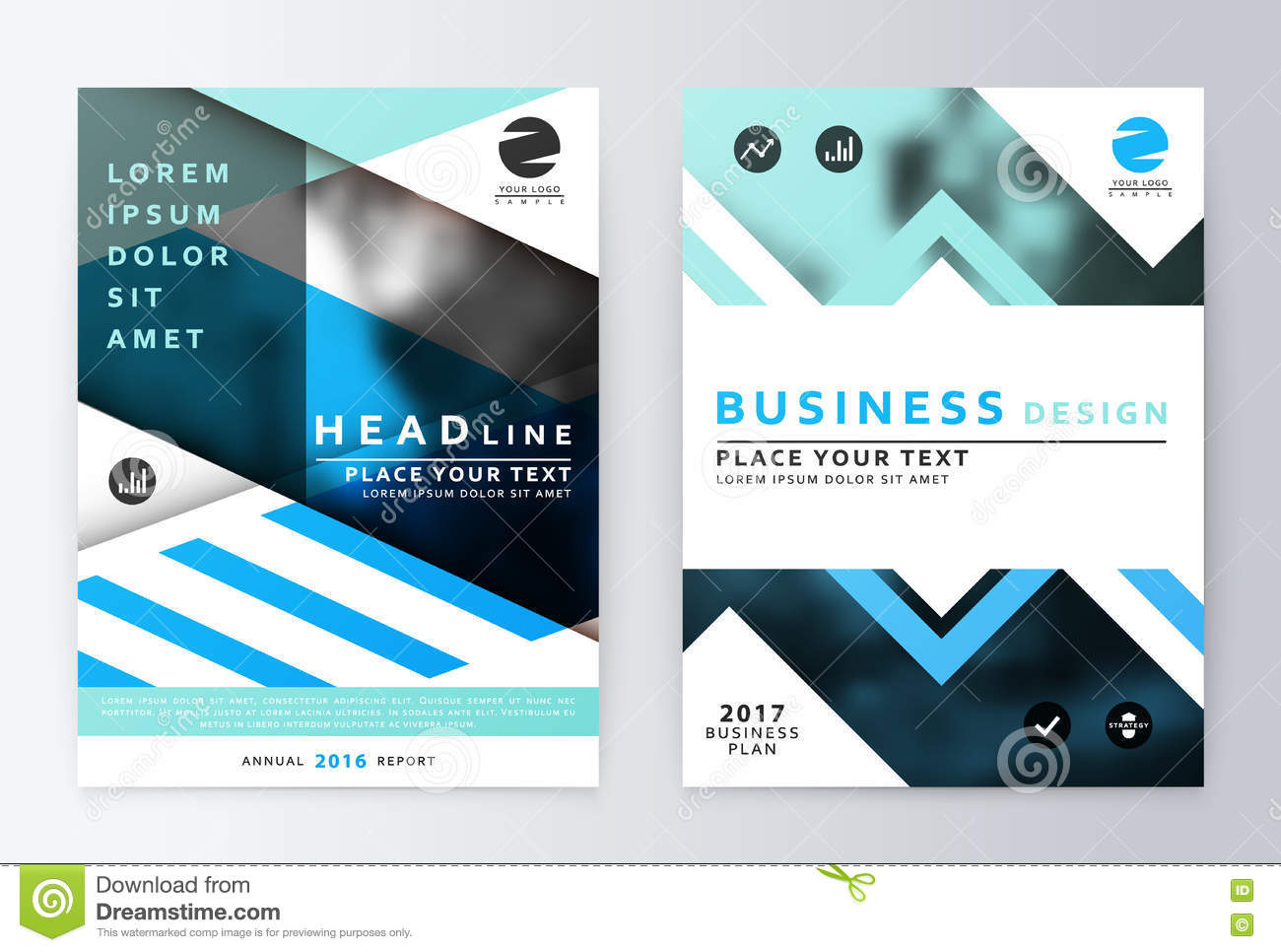 Blue Annual Report Brochure Stock Vector Illustration Of Document Annual 72368387