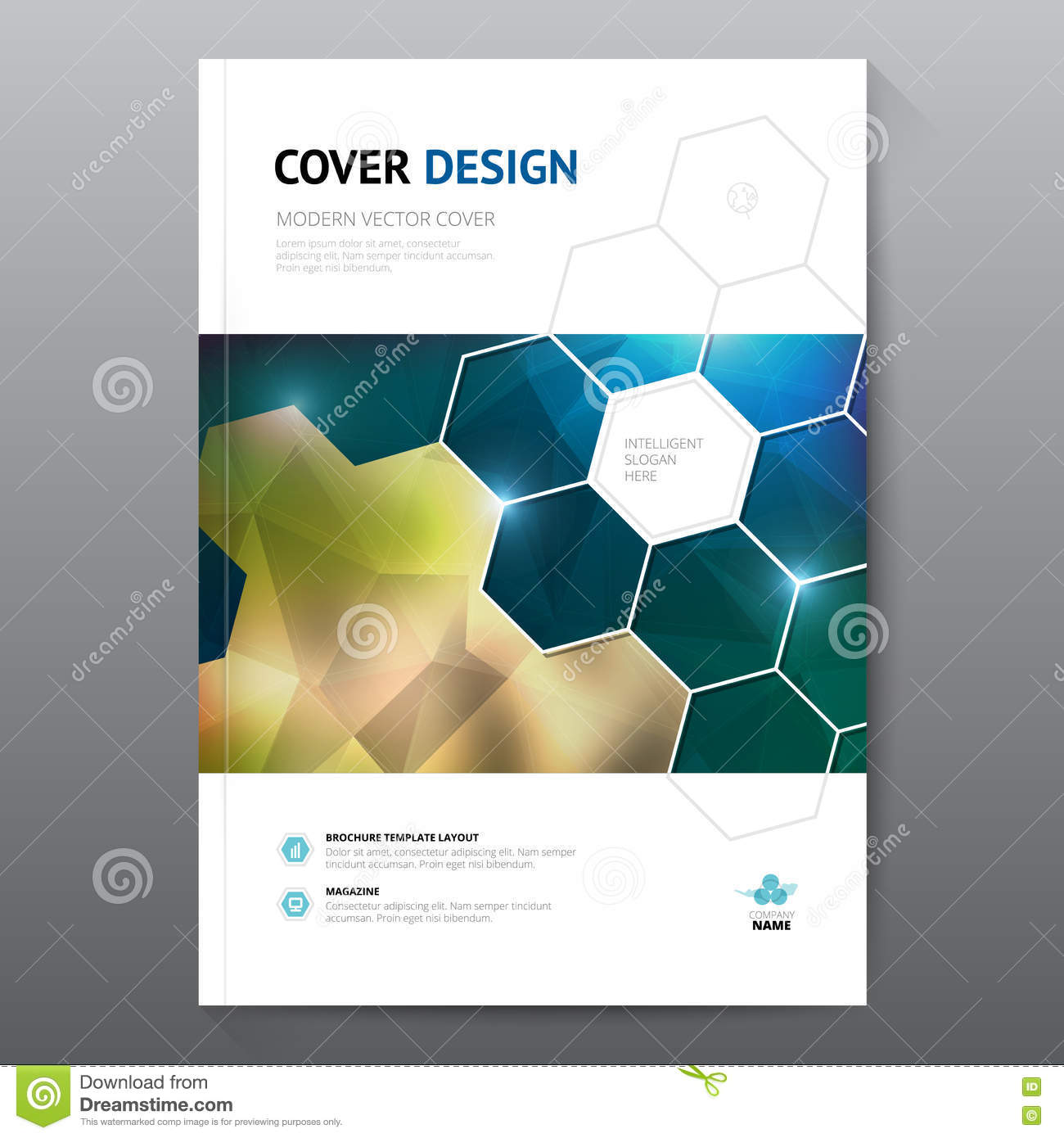 blue annual report leaflet brochure flyer template a4 size design