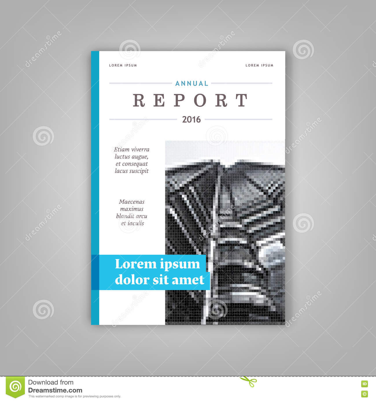 Annual Report Book Cover Design ~ Blue annual report leaflet brochure template a size