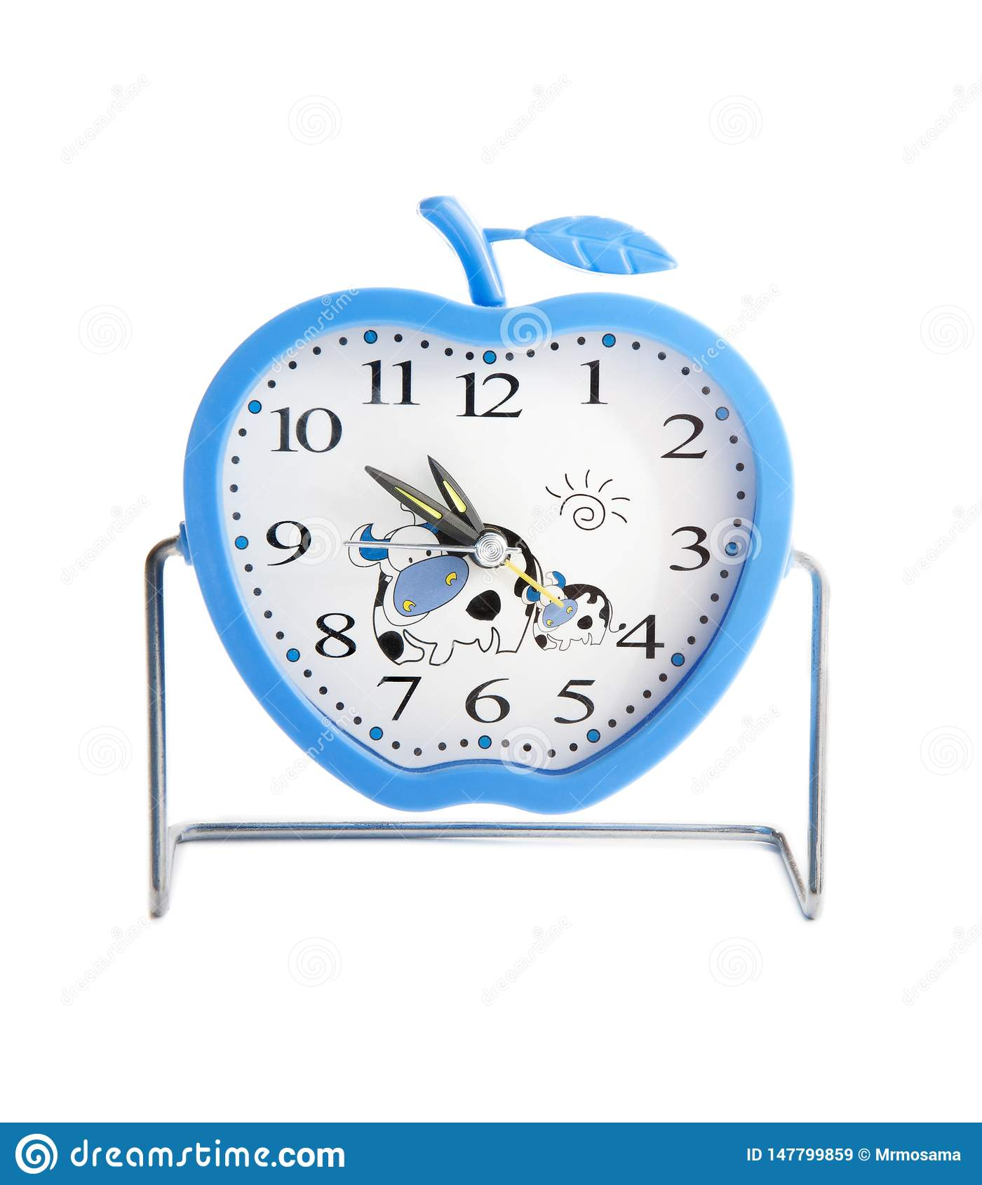 Blue Apple-Shaped Alarm Clock, A Late for Work Concept, Studio Shot