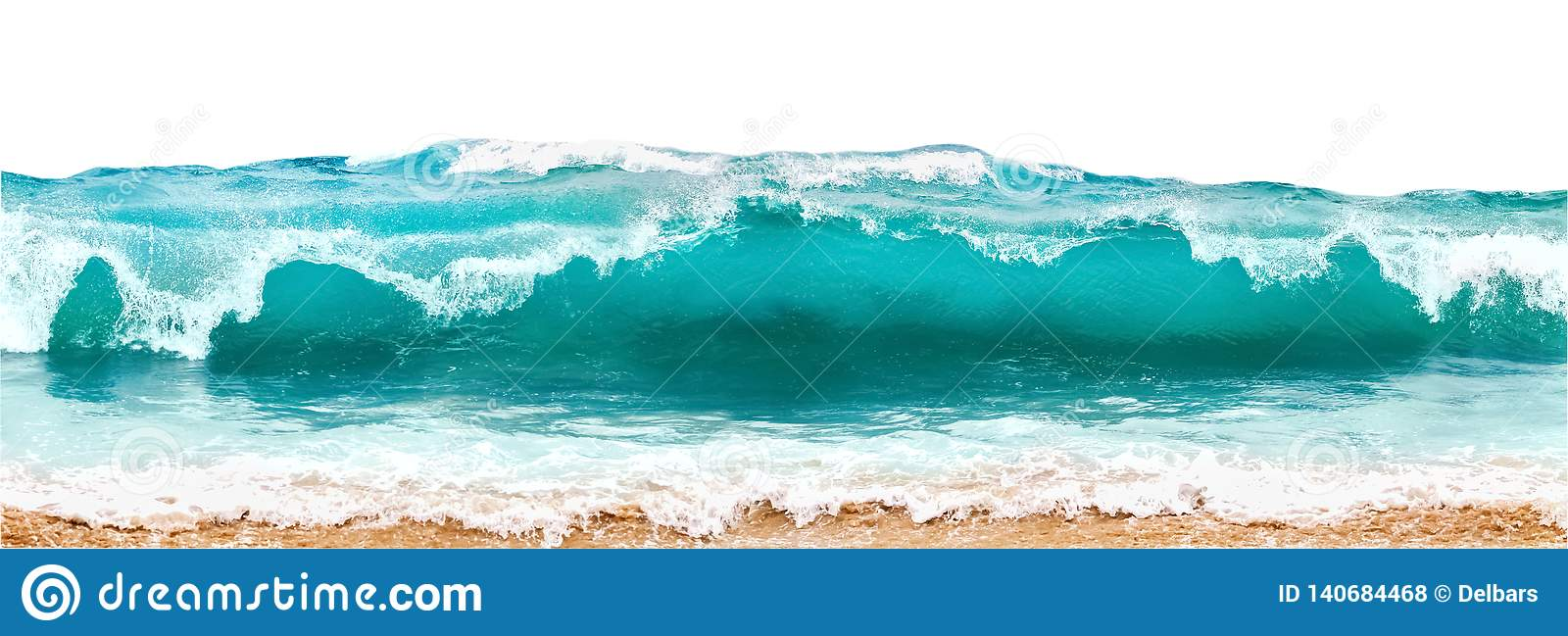 Blue and aquamarine color sea waves and yellow sand with white foam isolated on white background. Marine beach background.