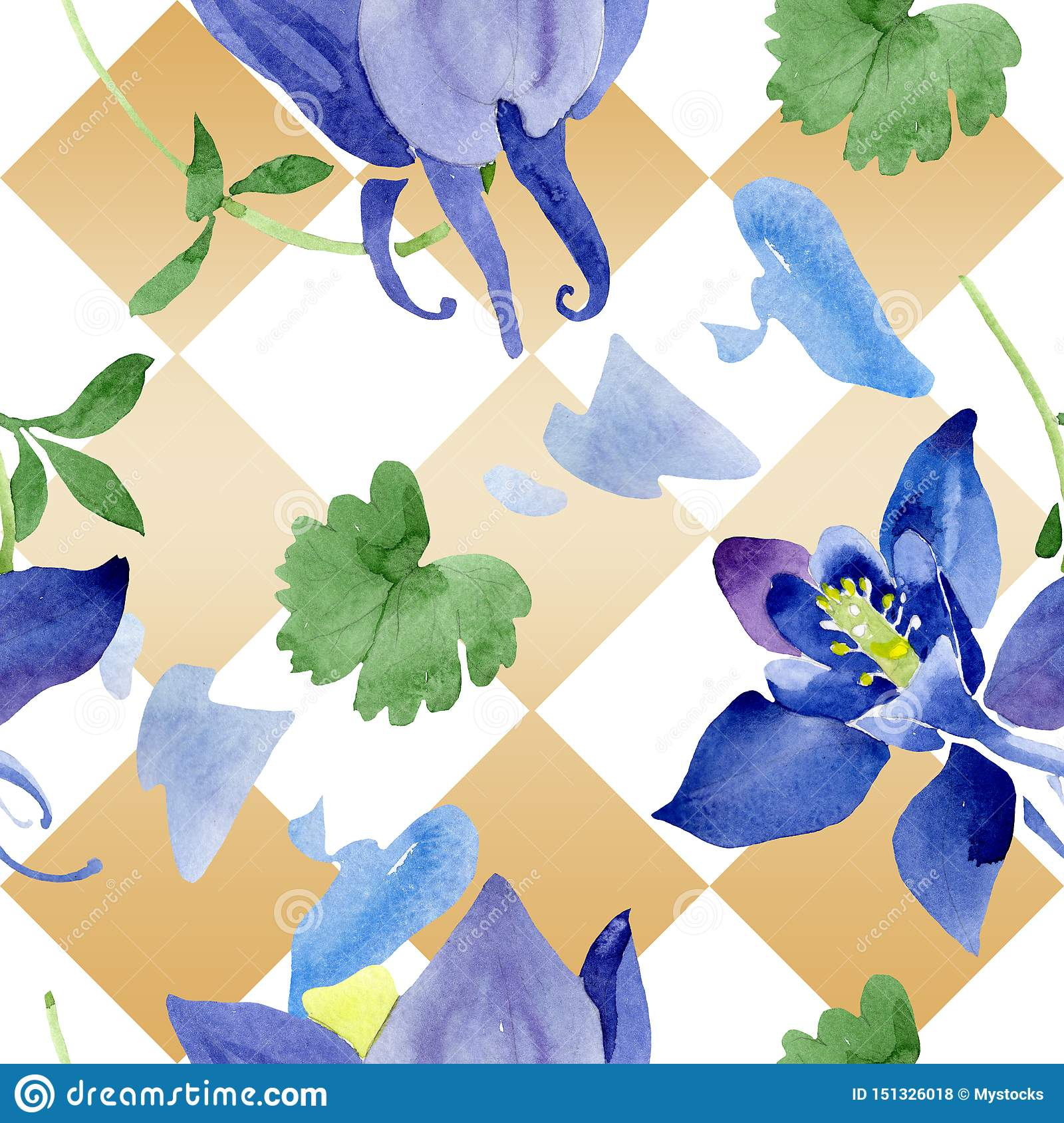 Blue aquilegia floral botanical flowers. Watercolor background illustration set. Seamless background pattern.