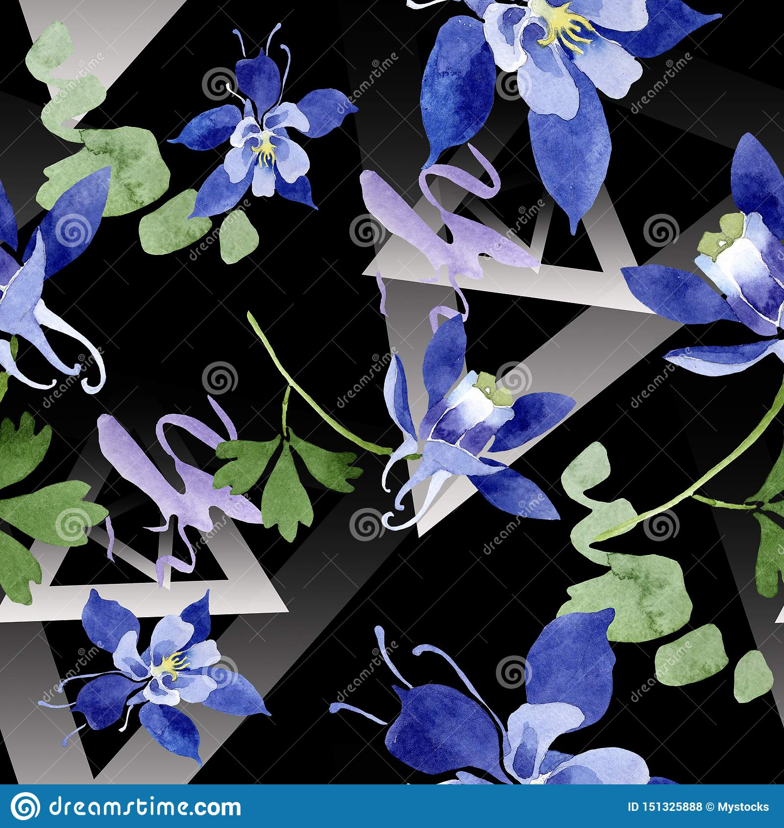Blue aquilegia floral botanical flowers. Watercolor background illustration set. Seamless background pattern.