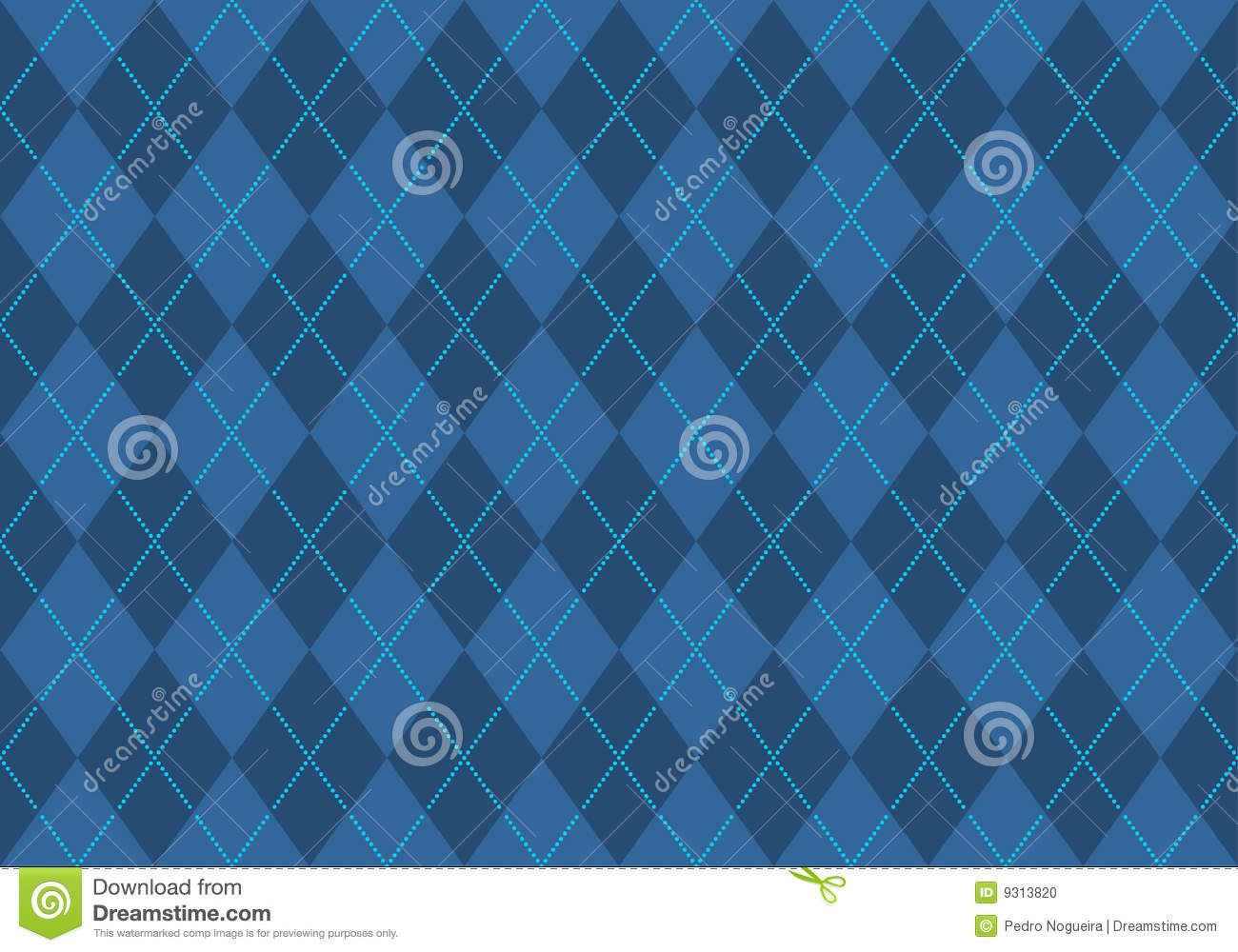 Blue Argyle Wallpaper Stock Vector. Illustration Of