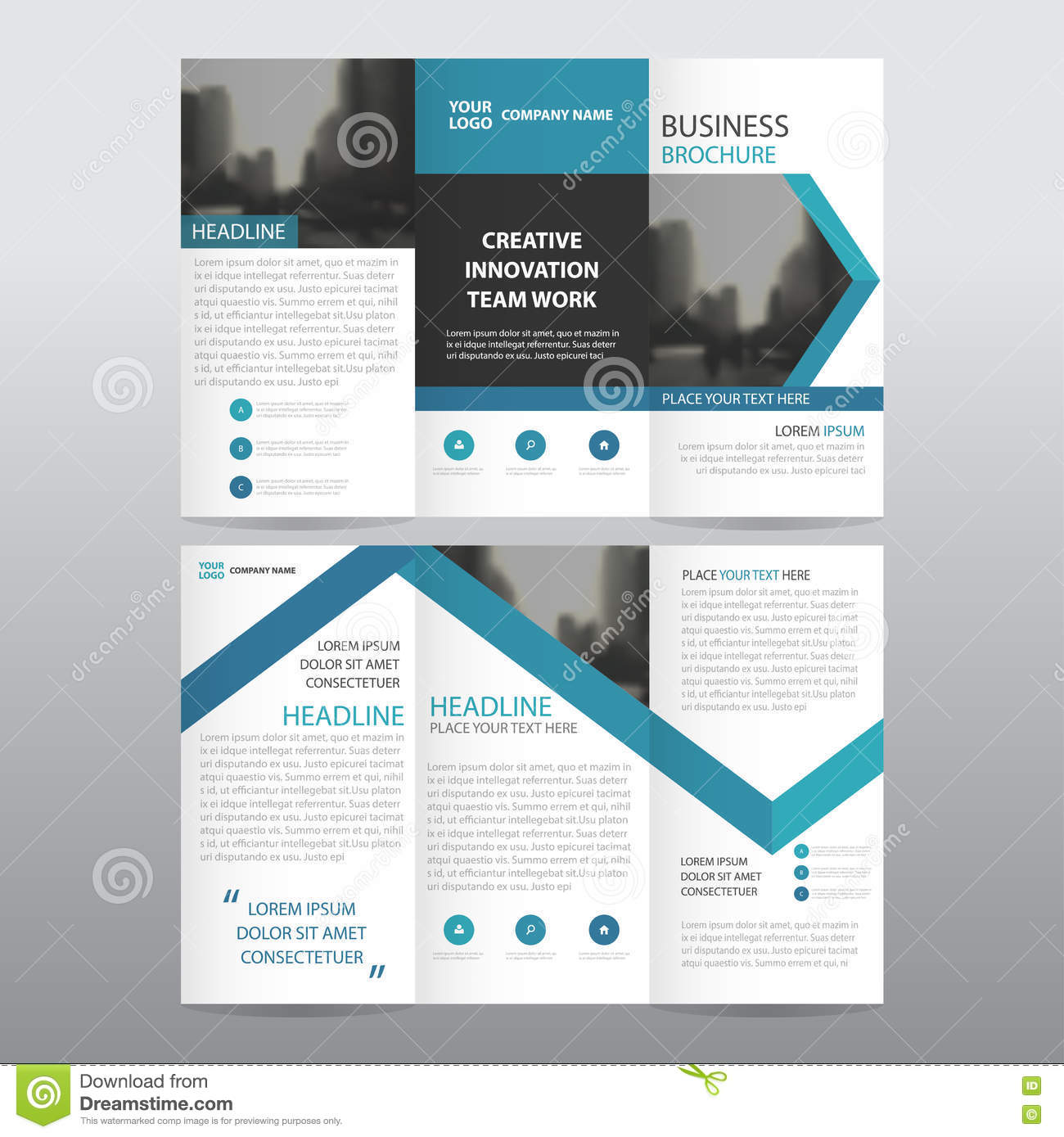blue arrow vector annual report leaflet brochure flyer template blue arrow business trifold leaflet brochure flyer report template vector minimal flat design set royalty