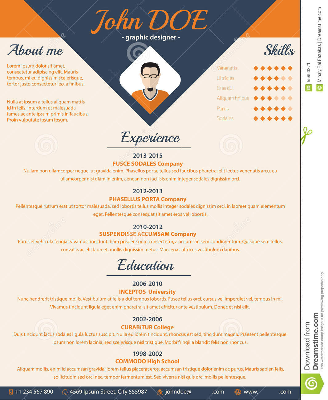 blue arrow cv resume curriculum vitae template stock