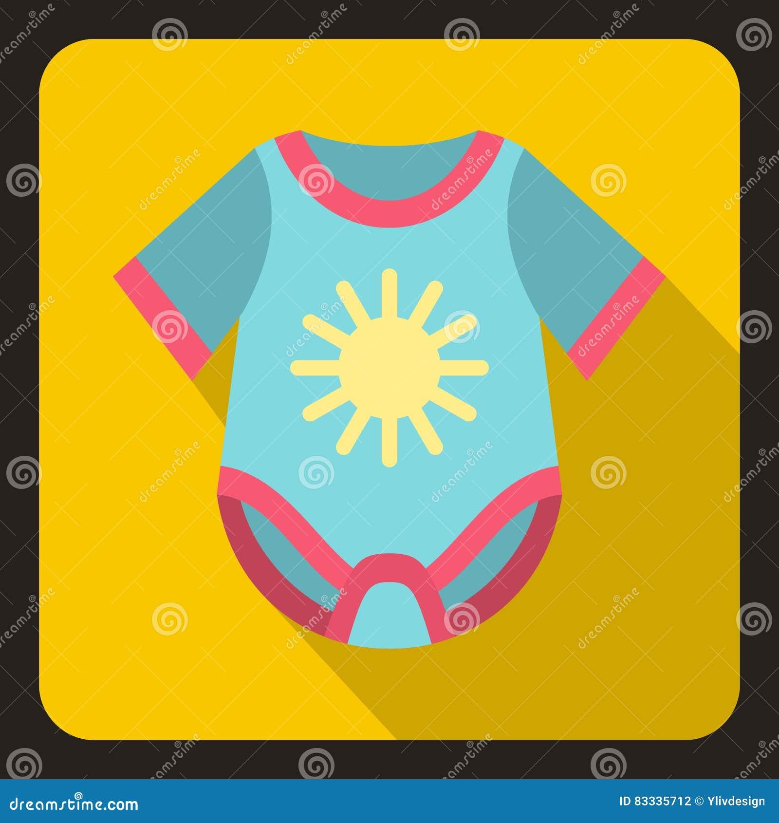 Blue baby bodysuit icon, flat style