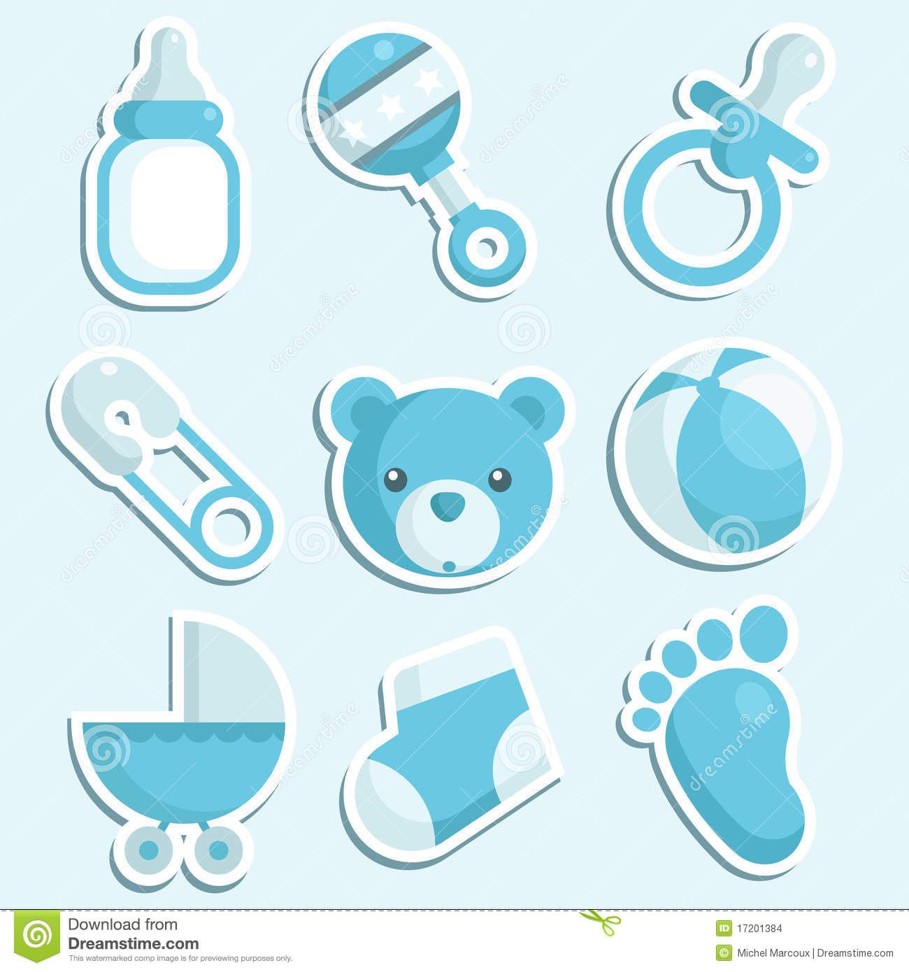 Blue Baby Boy Icons Vector Illustration Ball