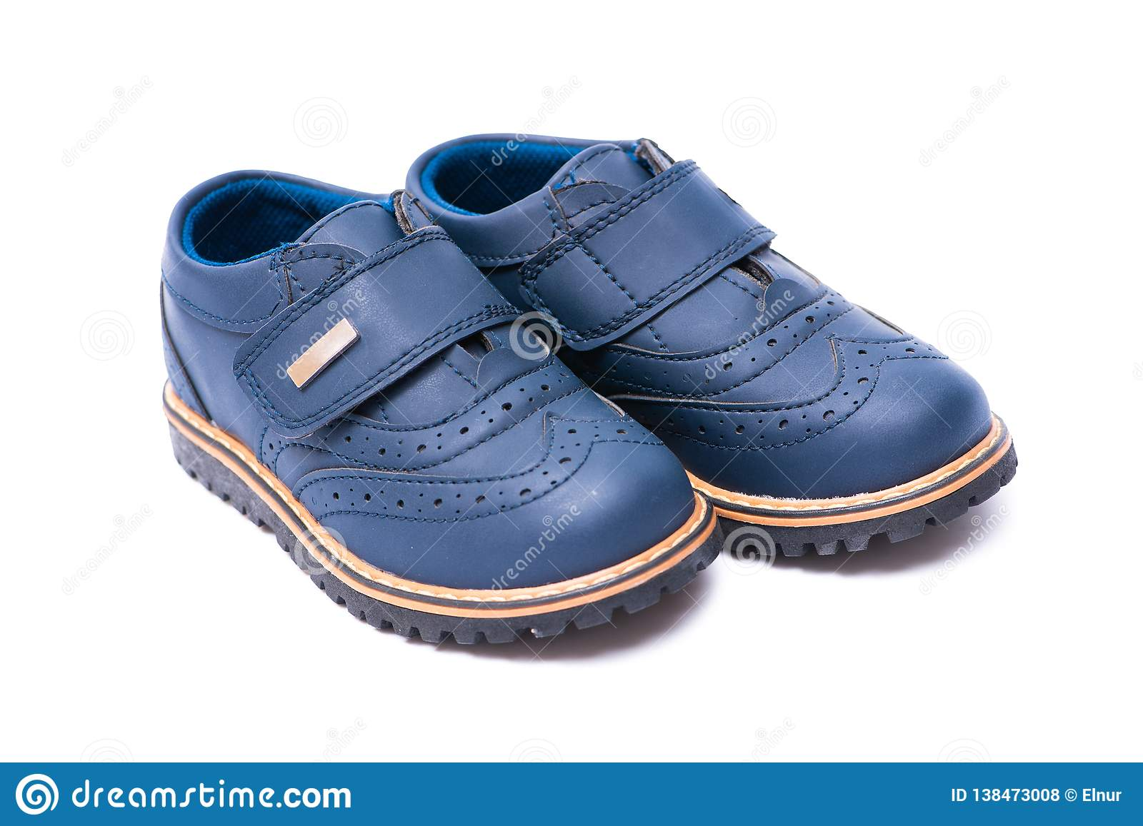 7d0195918 The Blue Baby Shoes Isolated On White Background Stock Photo - Image ...