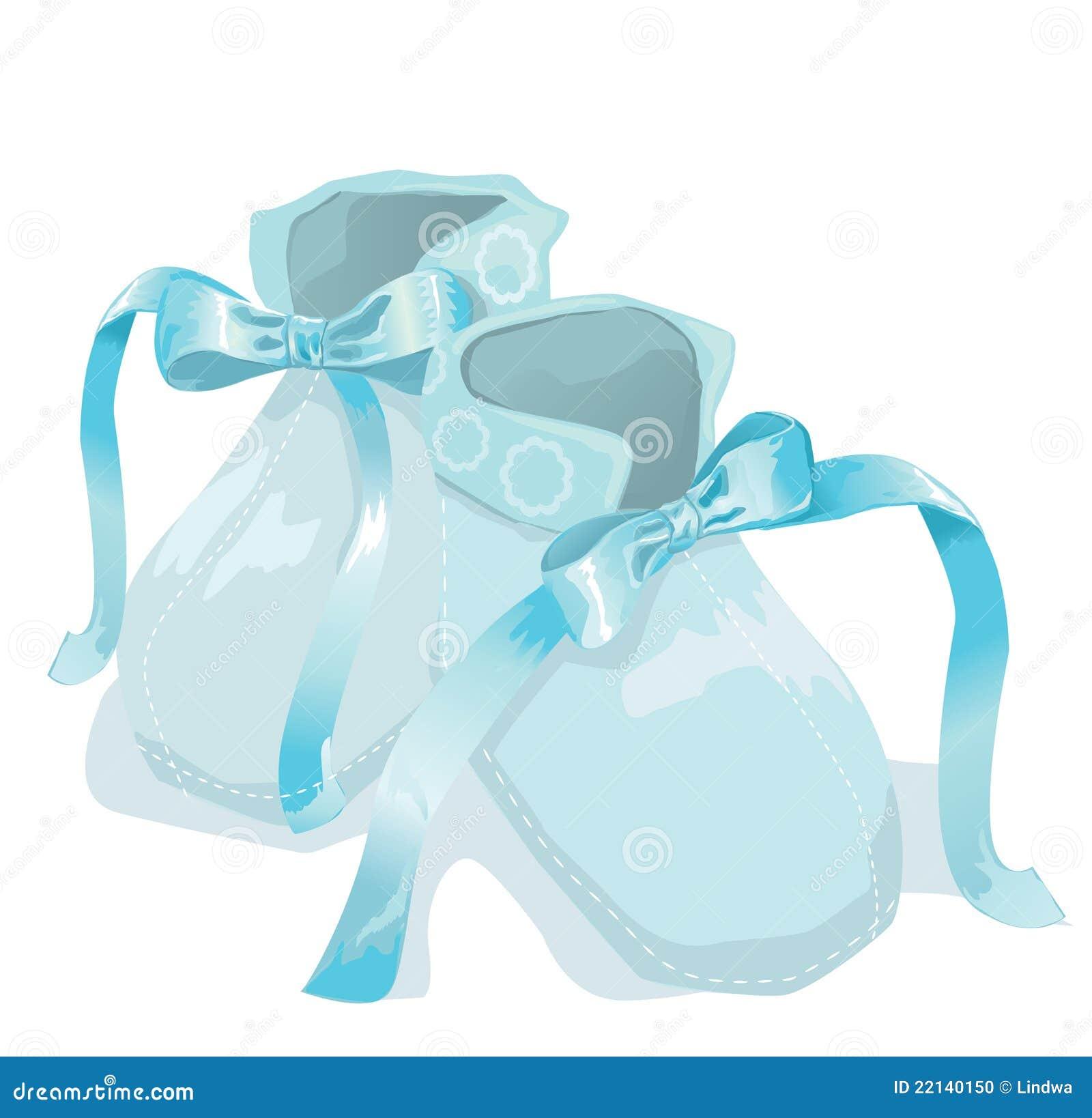 blue baby shoes on white background stock photo