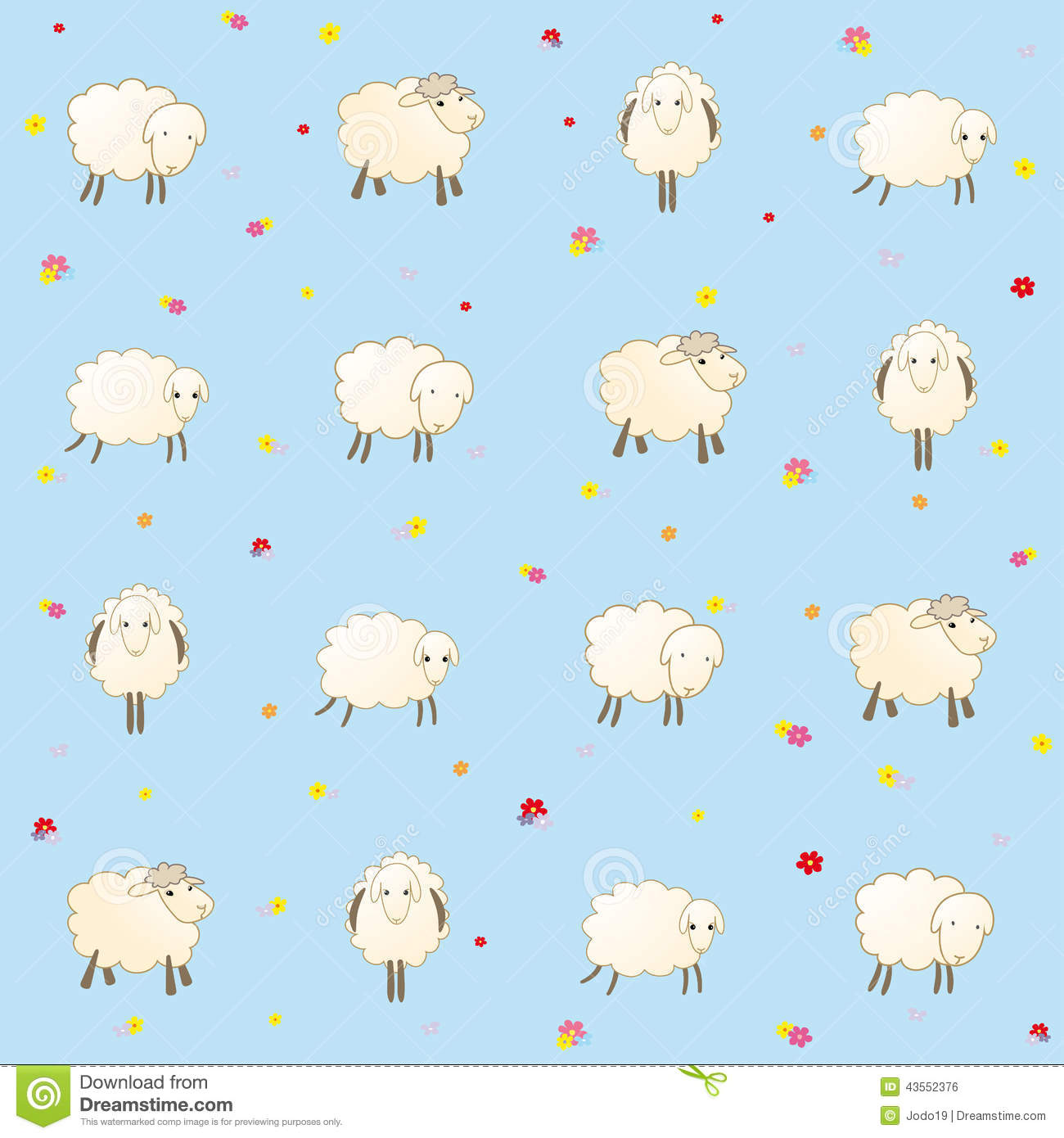 Blue Baby Wallpaper With Sheep