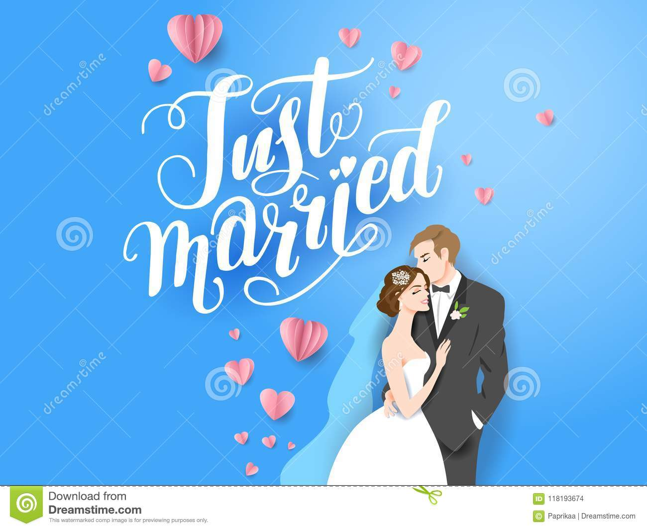 Blue Backdrop Bride And Groom Stock Vector Illustration Of