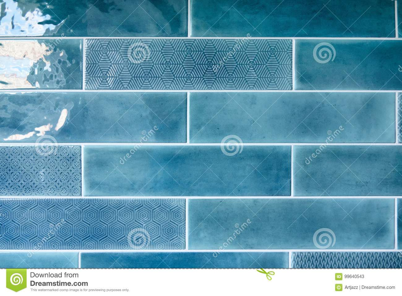 Blue Background With Ceramic Tiles Stock Image - Image of colorful ...