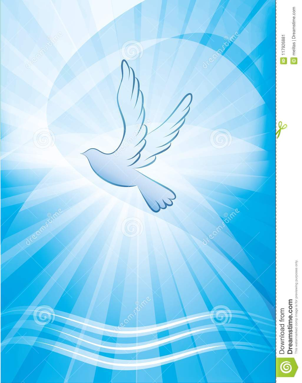 Christian Baptism Symbol With Dove And Waves Of Water Religious