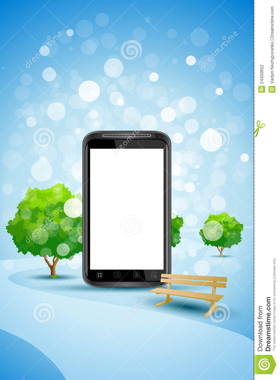 Blue Background With Empty Mobile Phone Stock Photography