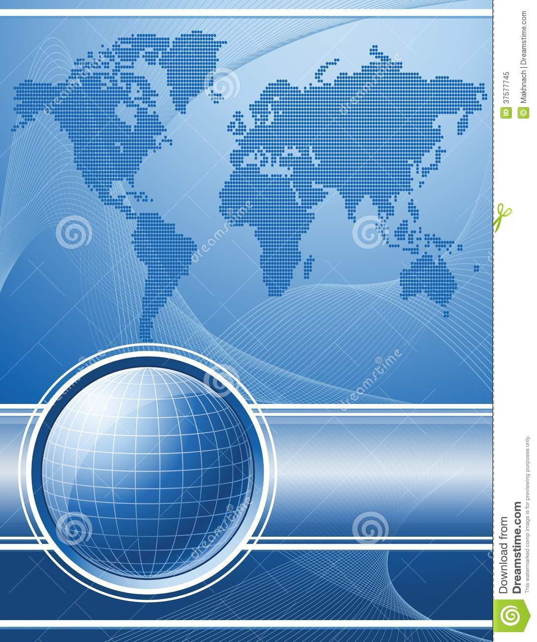 Blue background with globe and world map