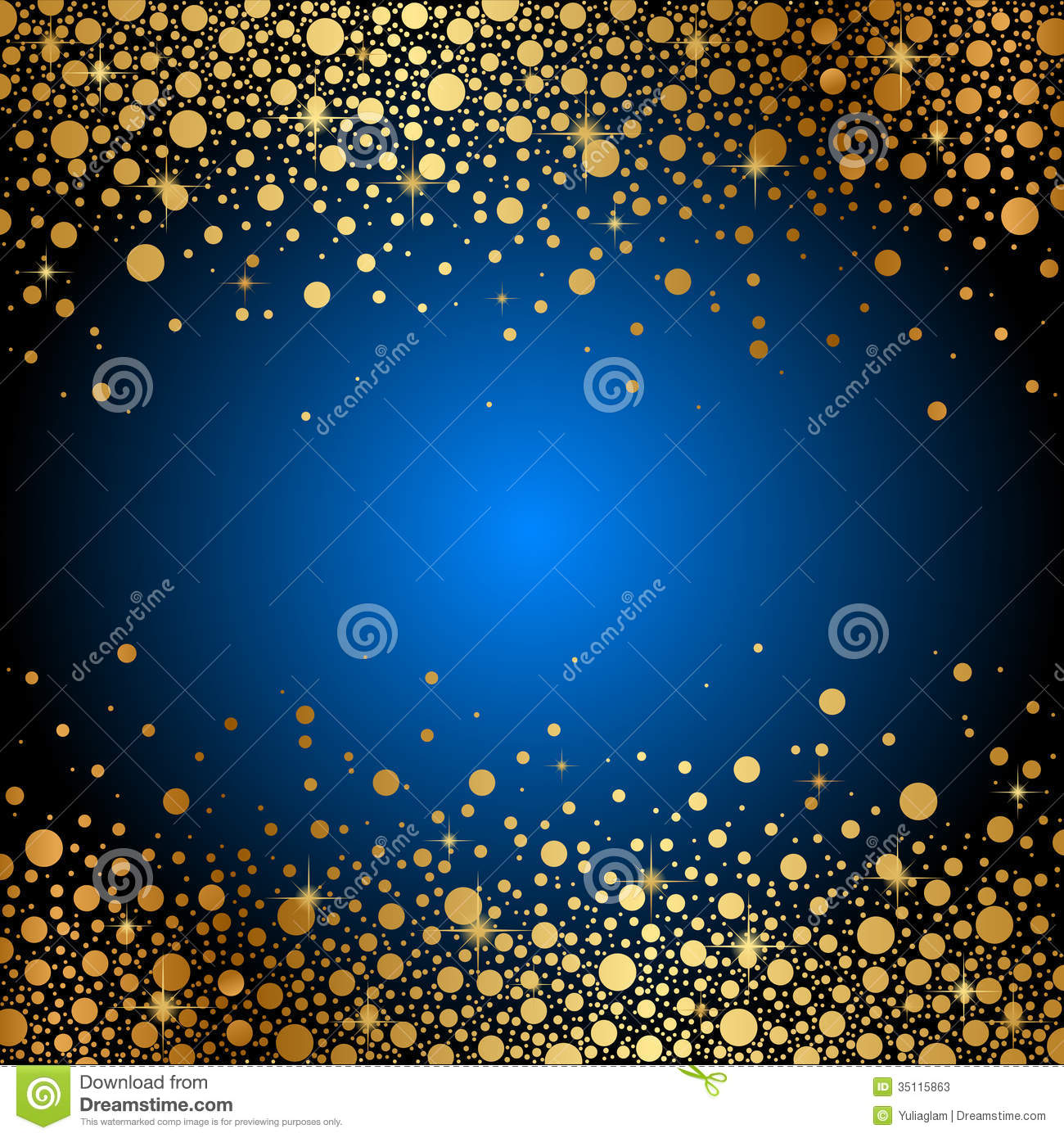 Blue Background With Gold Sparkles Stock Vector