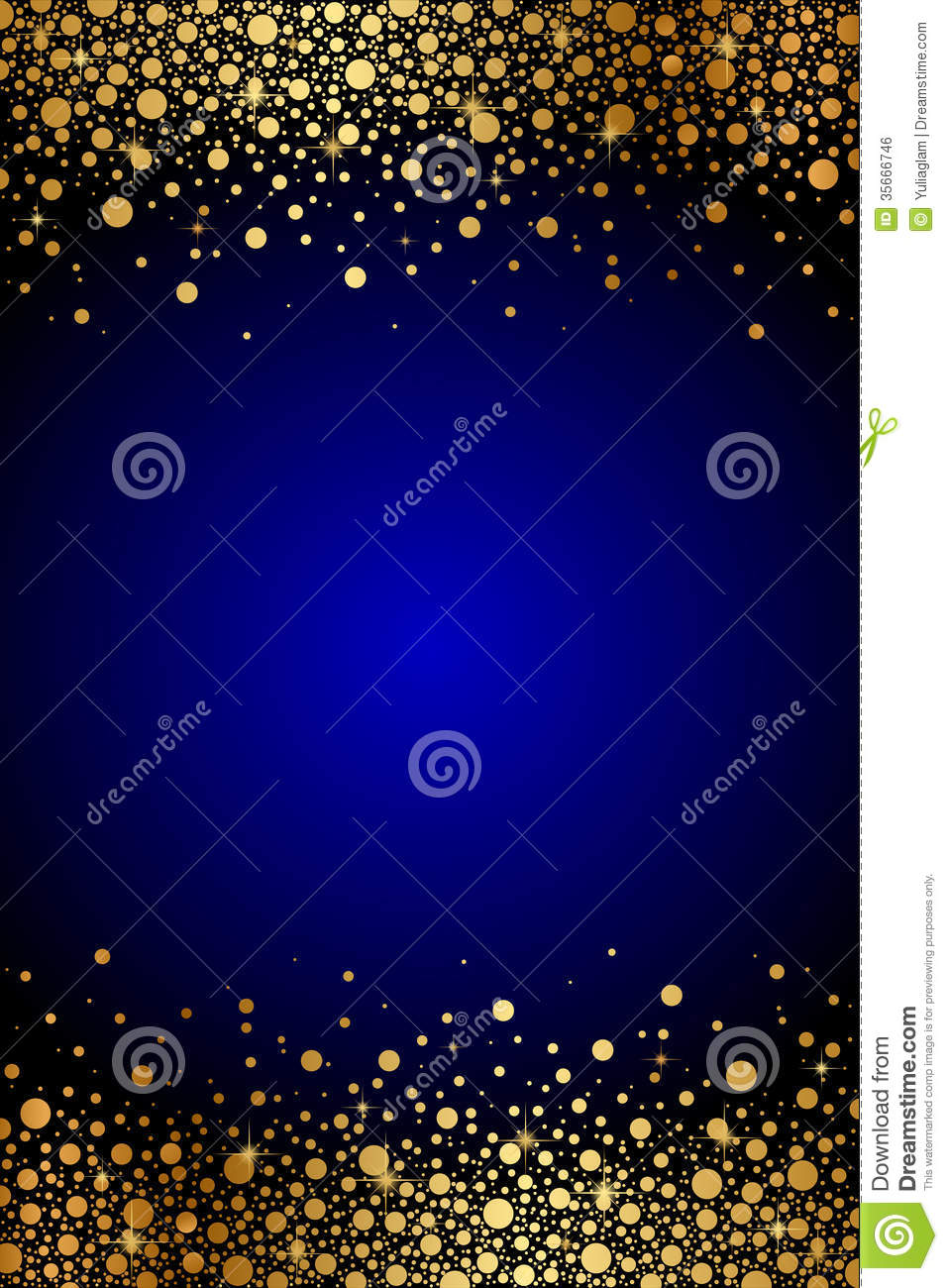 blue background with gold sparkles royalty free stock