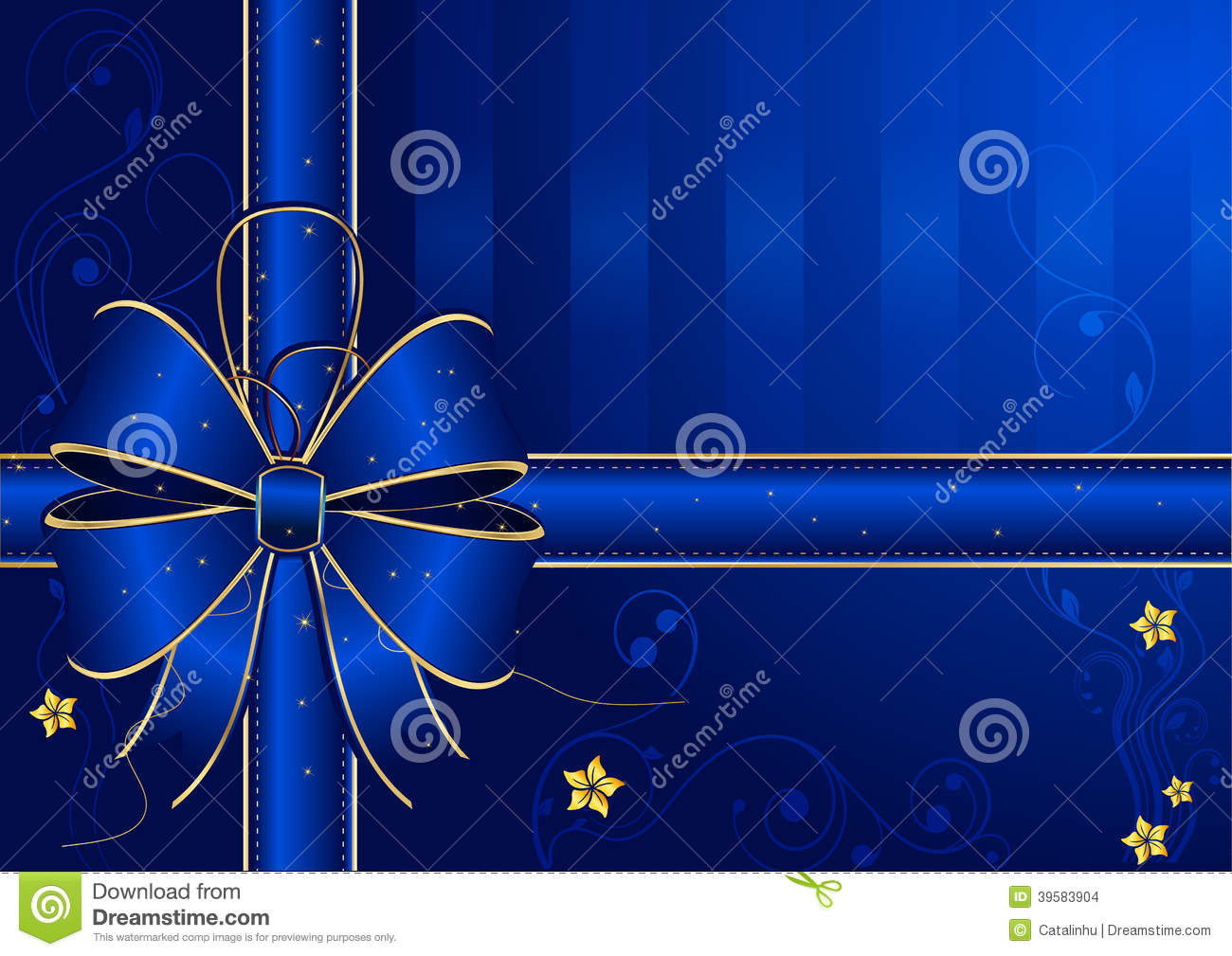 Blue Background With Golden Blue Bow Stock Vector Image