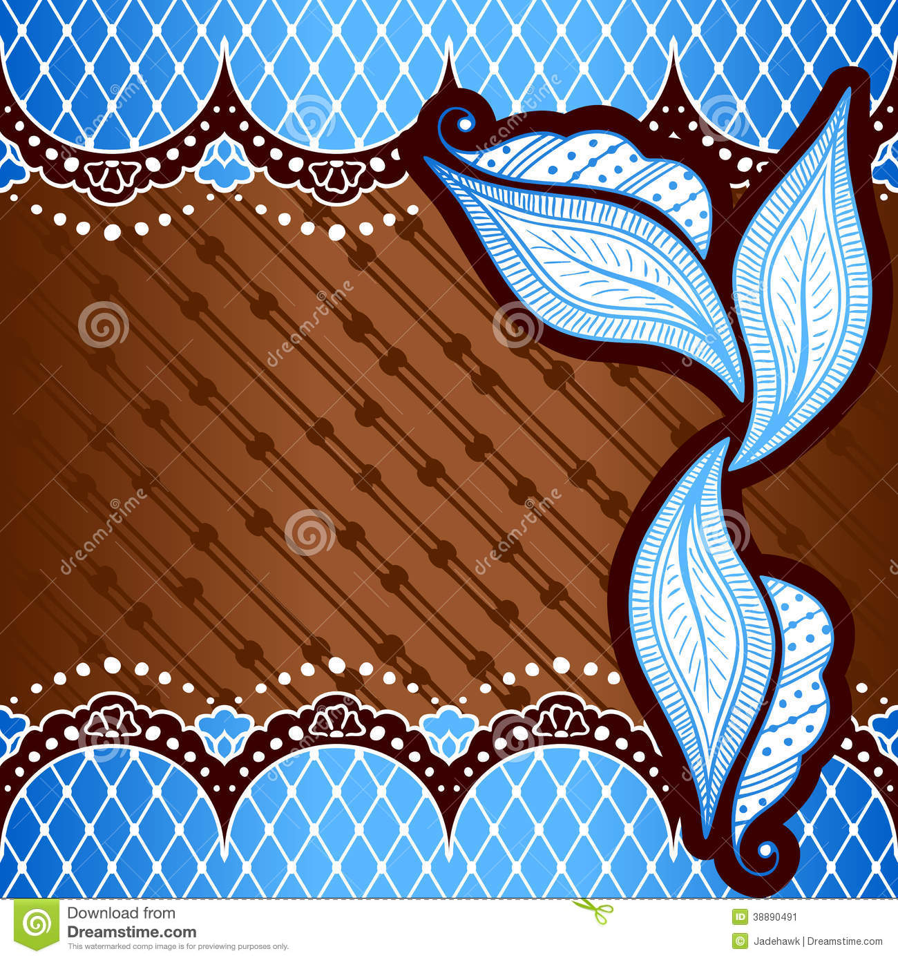 blue background inspired by indian mehndi designs stock