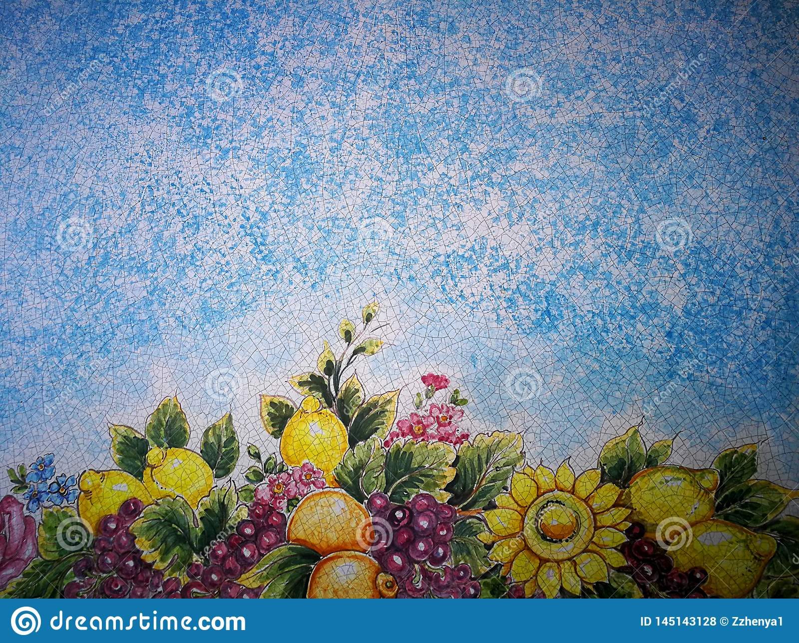 Blue background with mosaic flowered and fruit pattern.