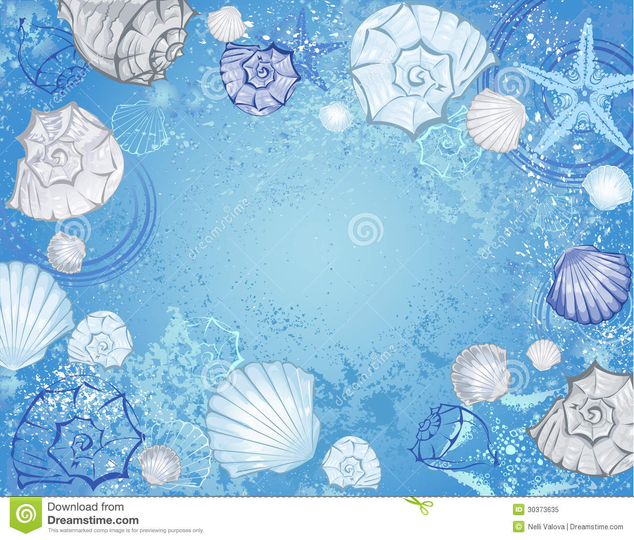 Blue Background With Sea Shells Royalty Free Stock Photo - Image ...