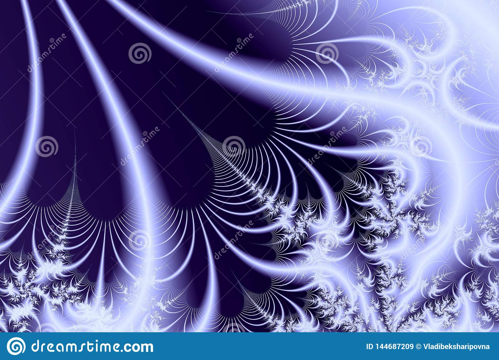 Blue background with white fractals and luminous lines