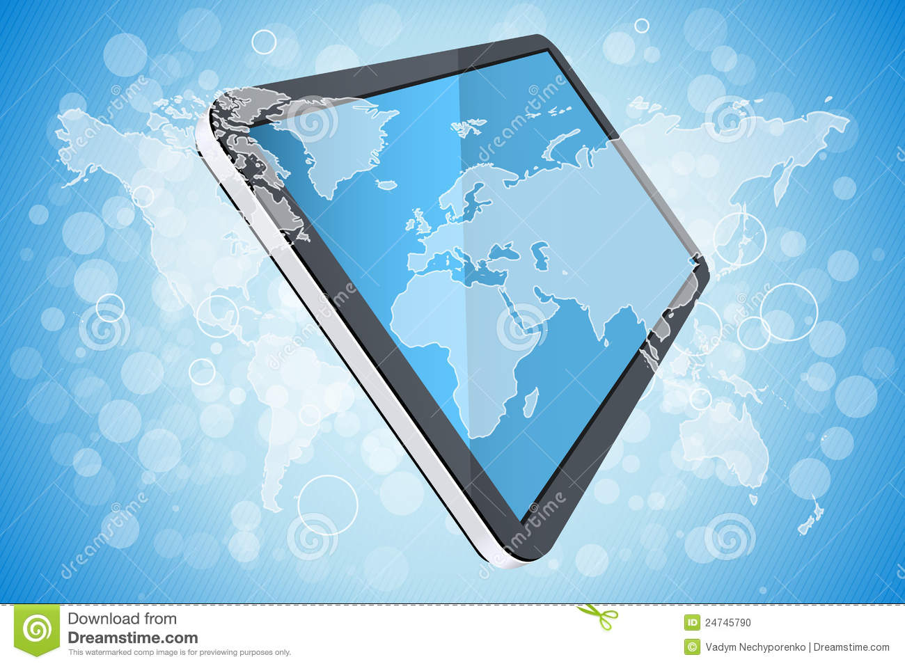 Blue background with world map and tablet computer stock vector blue background with world map and tablet computer gumiabroncs Choice Image