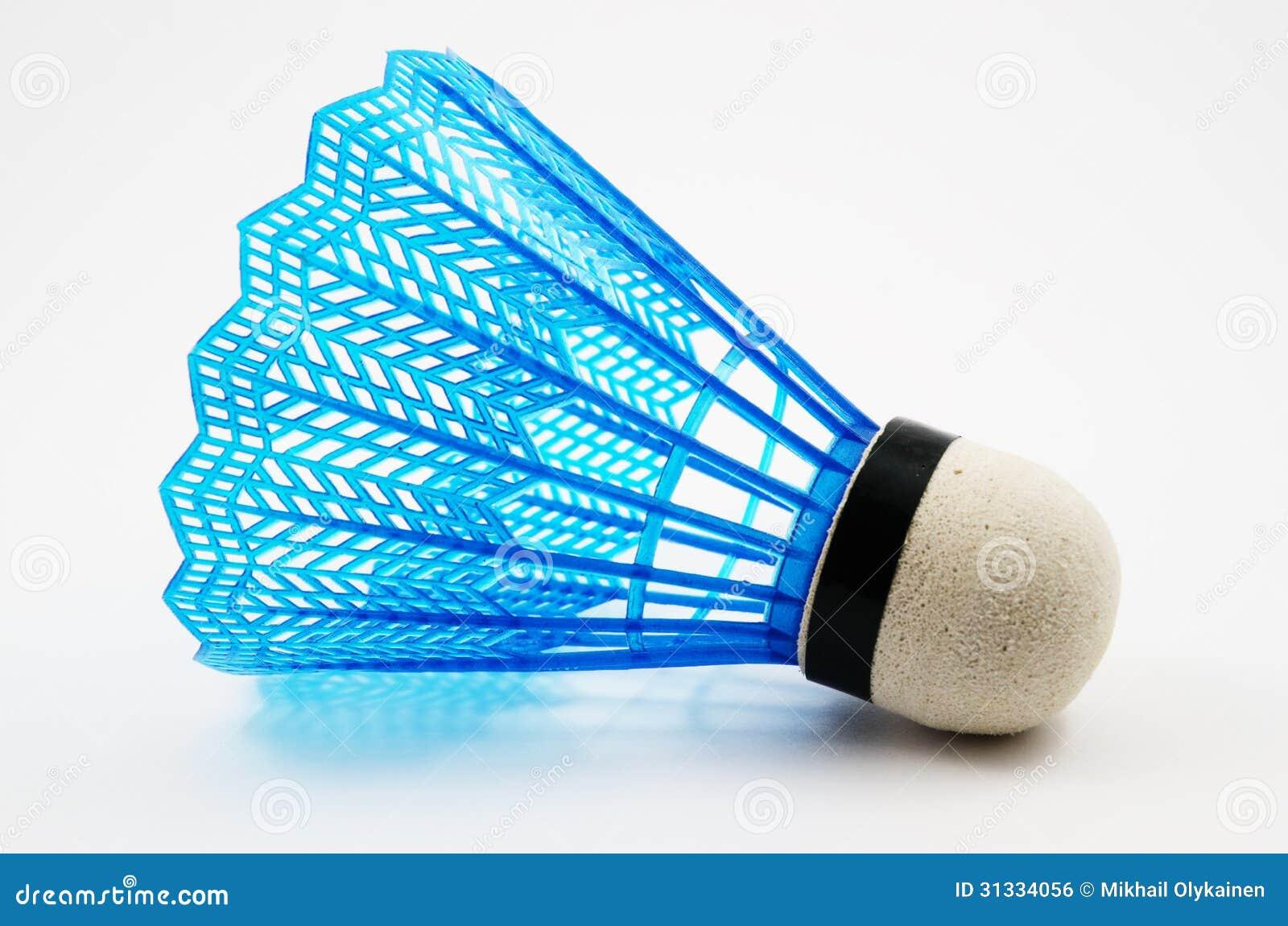 blue-badminton-shuttlecock-white-backgro