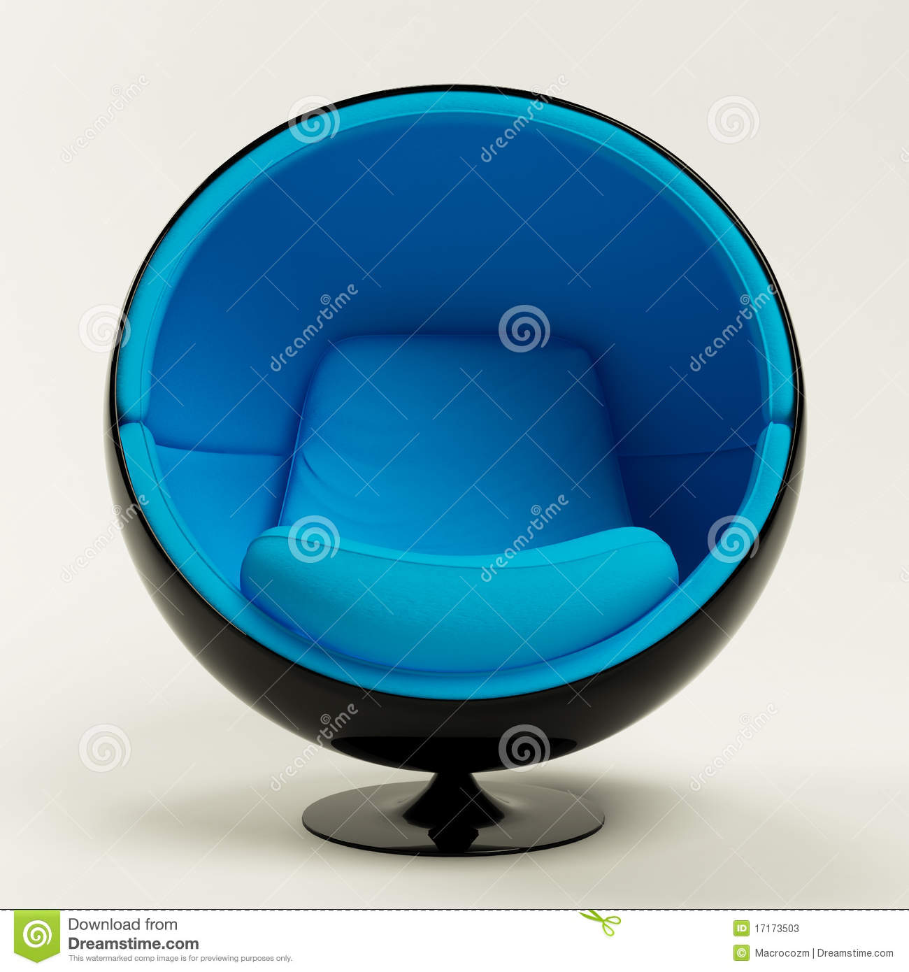 Blue Ball Chair Isolated On White Background Stock