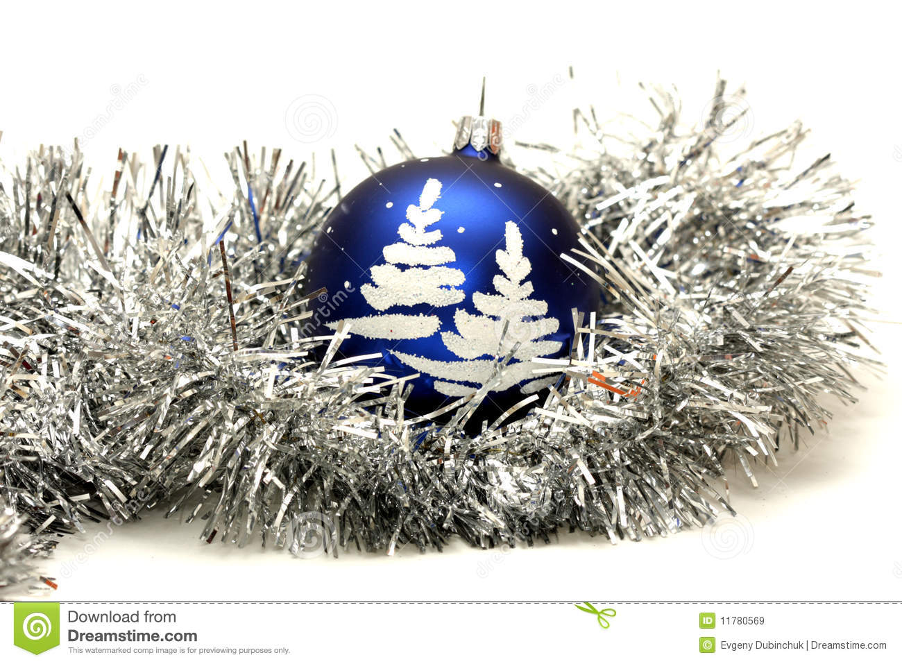 download blue ball with christmas tree on silver tinsel stock image image of ribbon - Silver Tinsel Christmas Tree