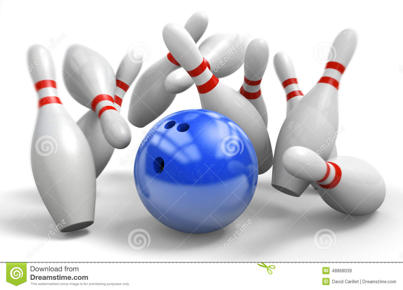 Stock Illustration: Blue ball hitting a perfect strike on ten-pin ...