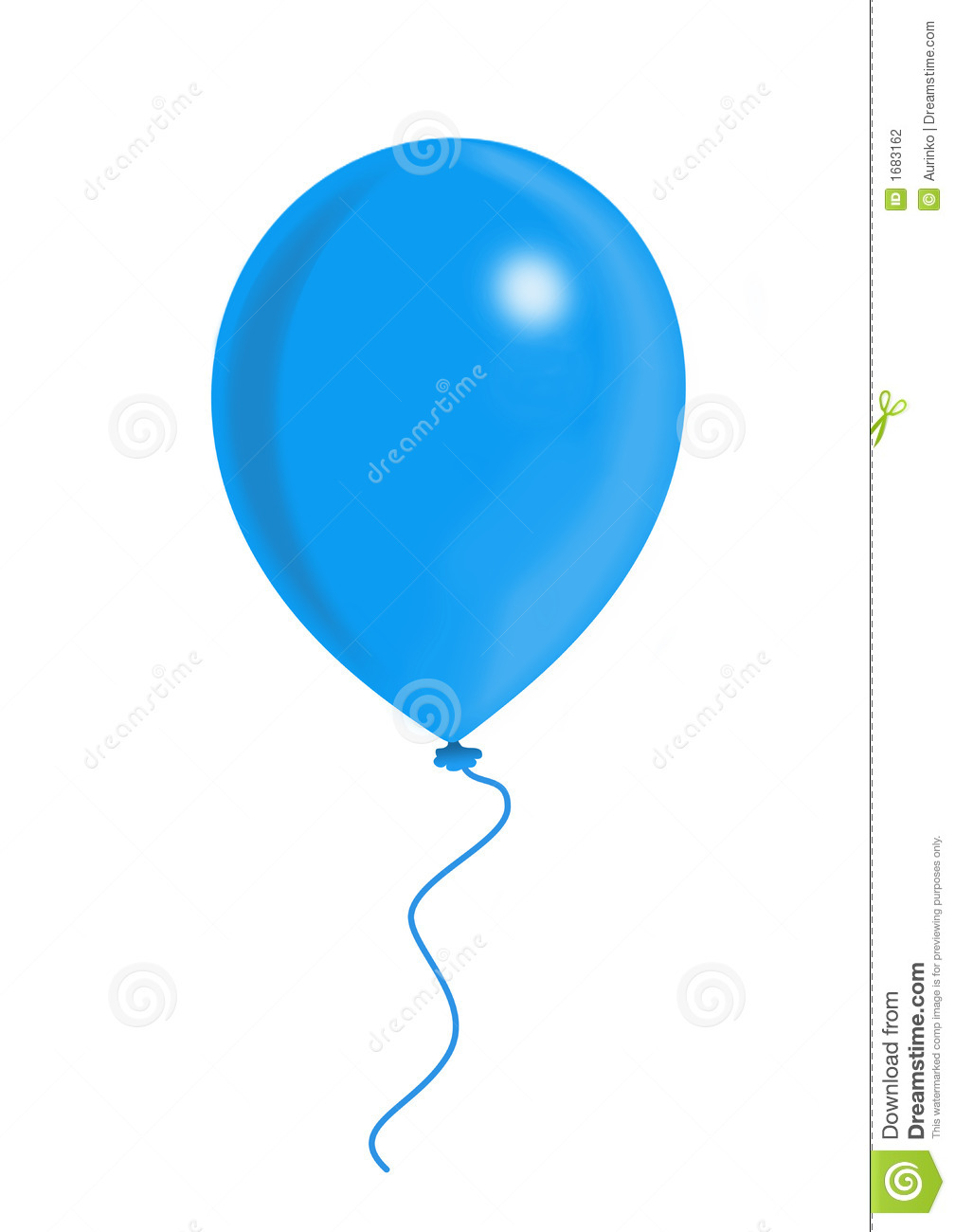 Blue balloon on the white background, balloon series.