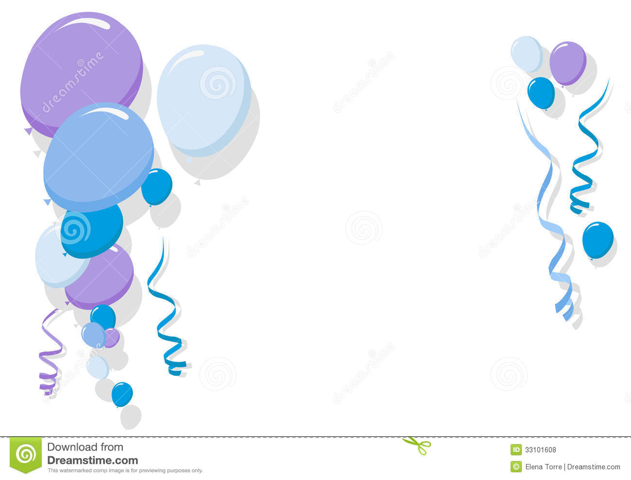 Blue Balloons Border For Boy Vector Stock Vector Illustration Of
